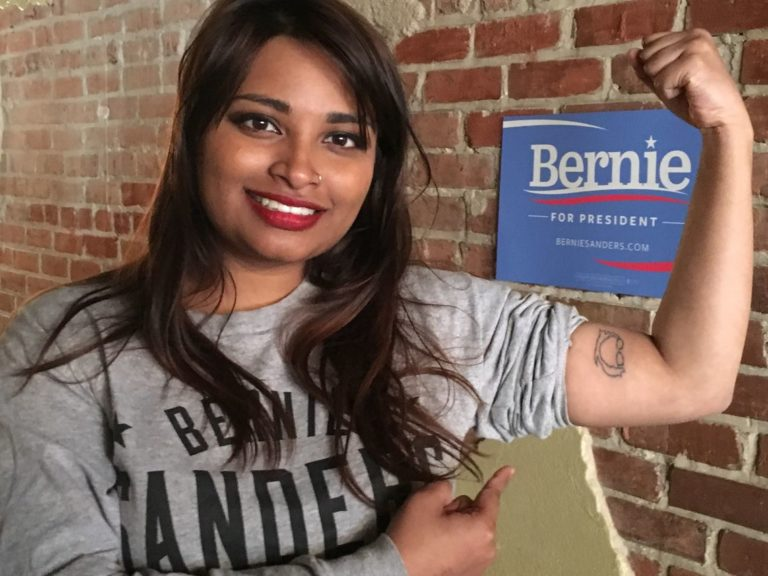 Moumita Ahmed with her Bernie Sanders tattoo. (Courtesy of Moumita Ahmed)