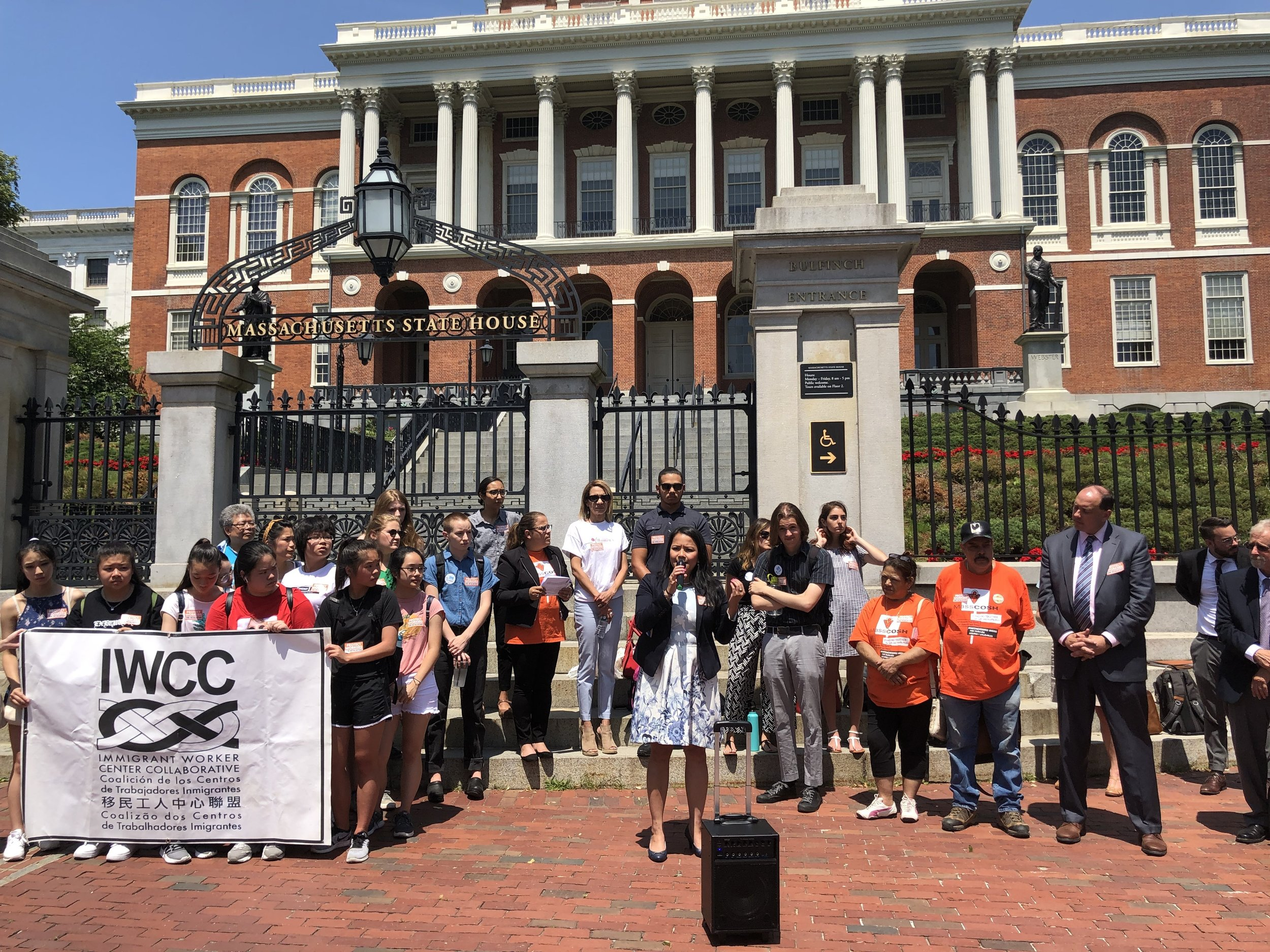 Tram Nguyen speaking outside Massachusetts State House to her constituents. The Vietnamese American is the first in her family to be involved in politics. (Courtesy of Tram Nguyen)