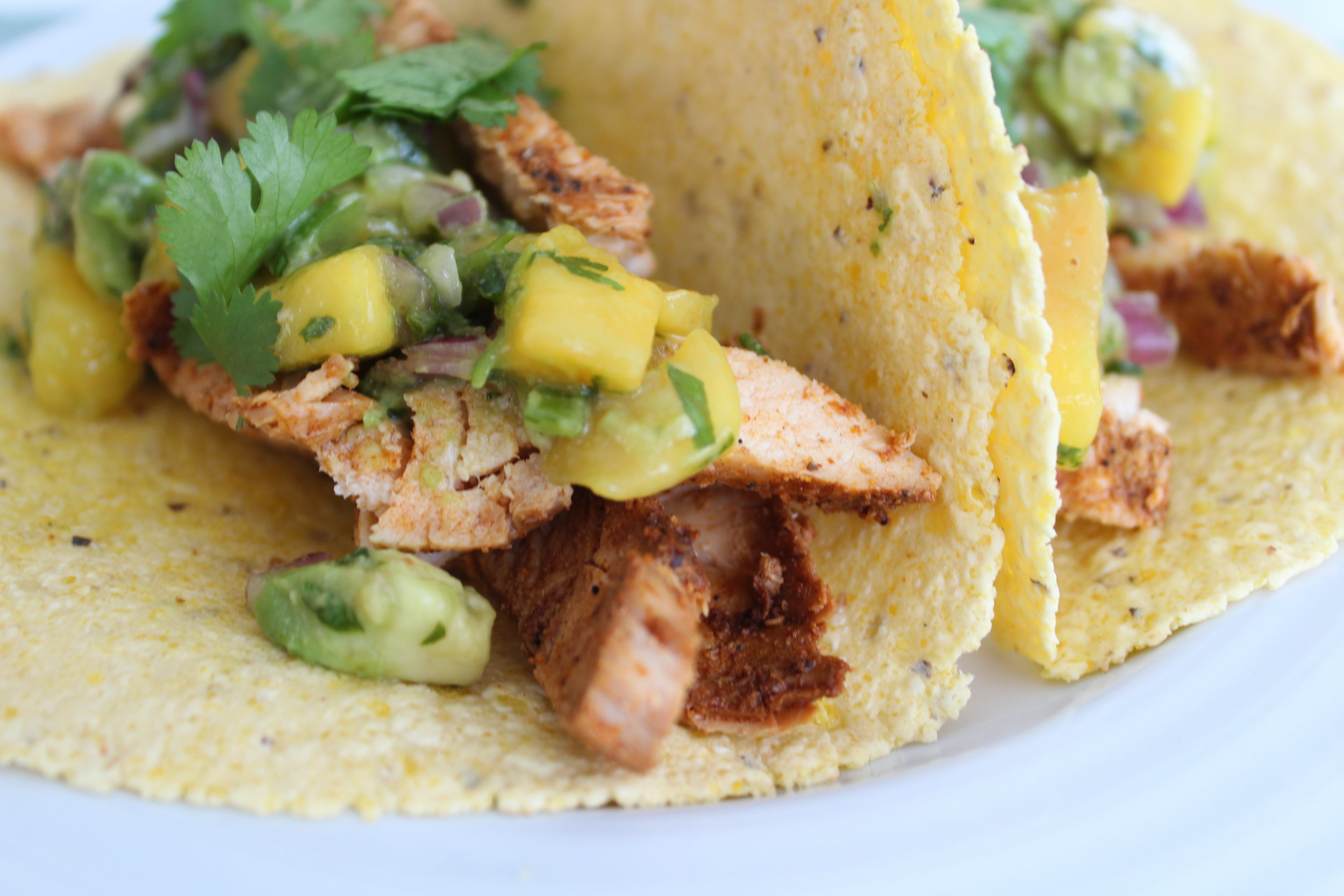 Chili Lime Chicken Tacos with Mango Avocado Salsa