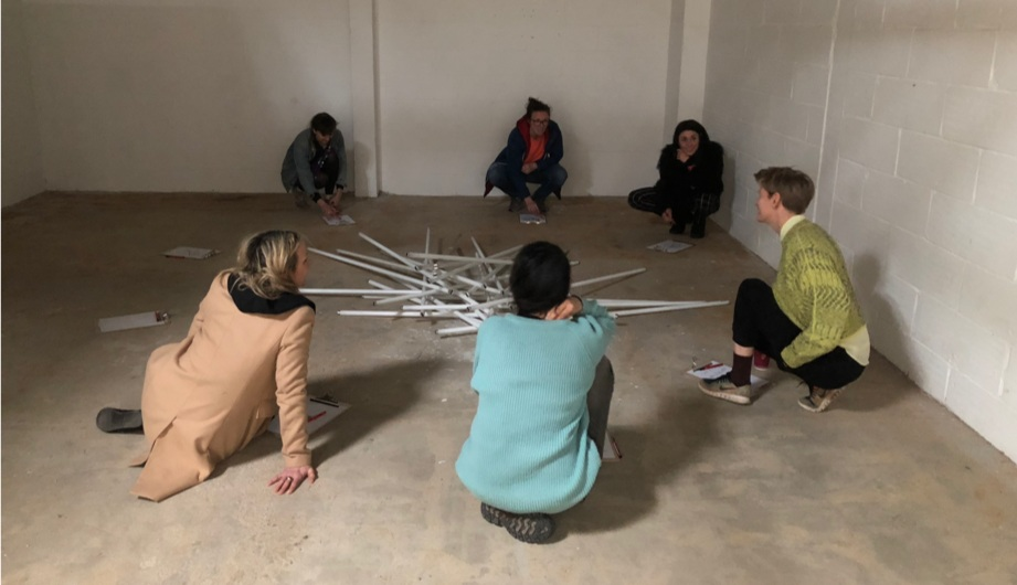 The  TOMA  group working with visiting artist  Laure Prouvost  in 2018.
