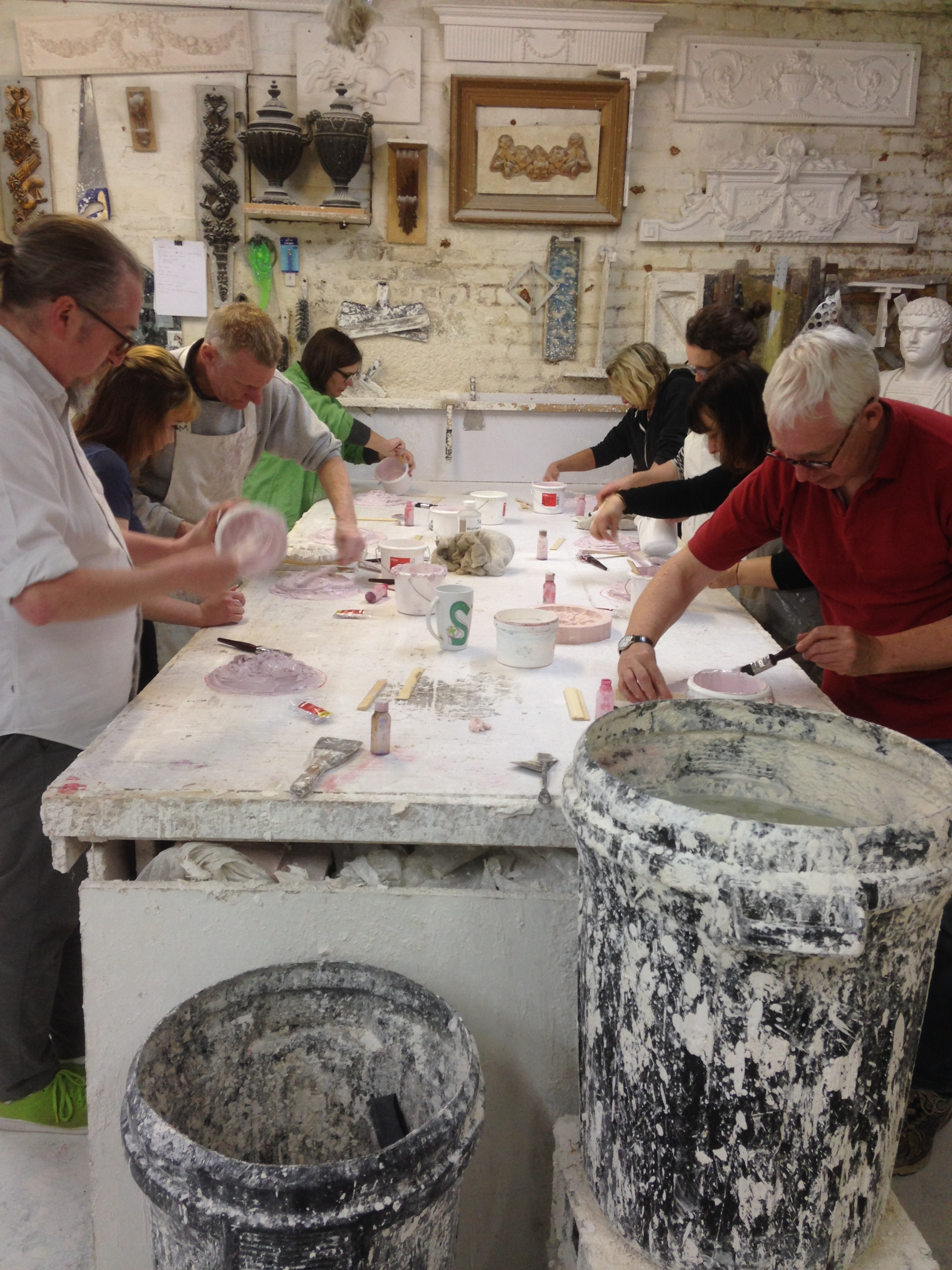 TOMA  artists taking part in a plaster casting workshop in 2017.