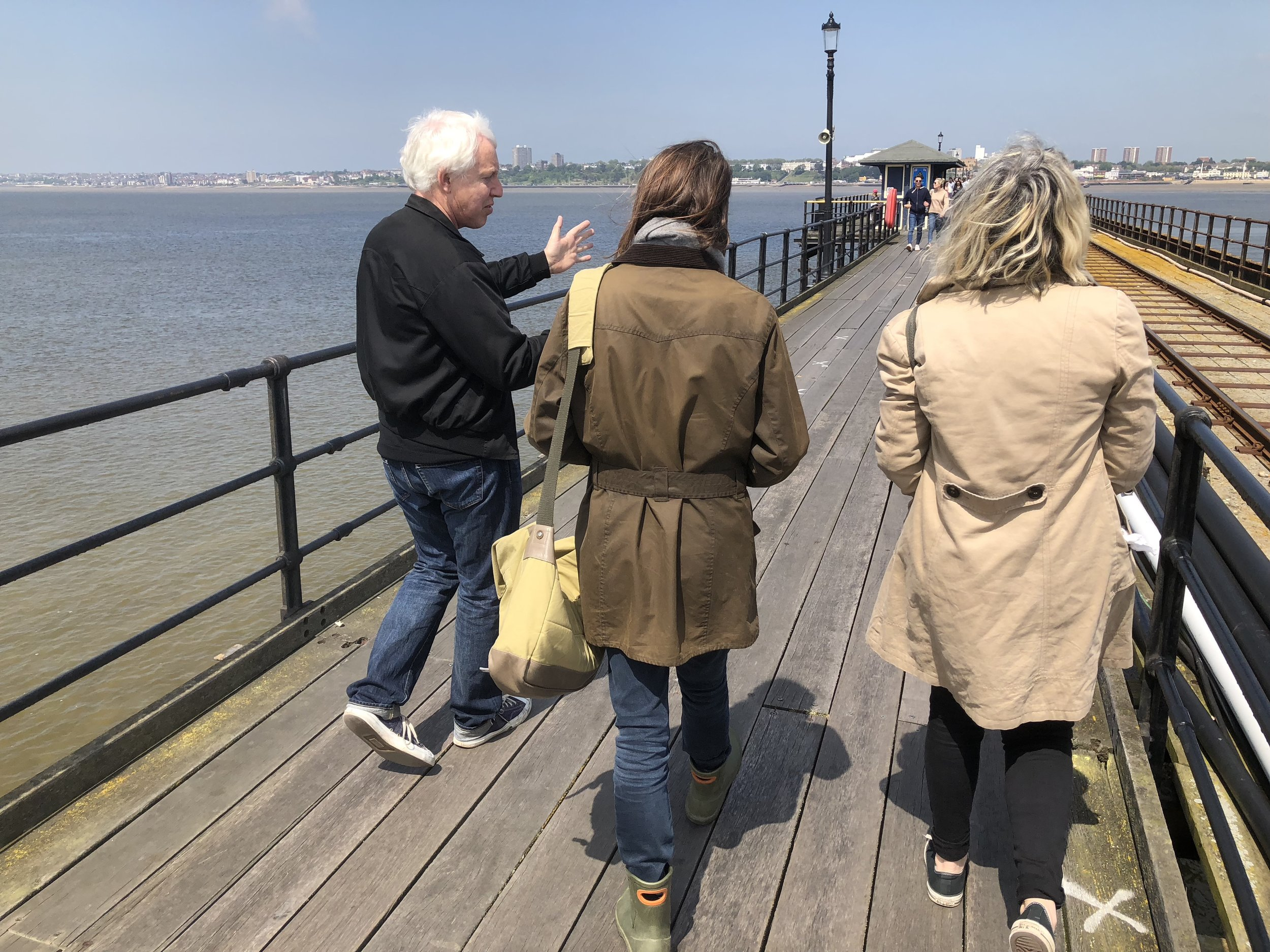 TOMA  artists on a walk + talk tour of Southend Pier with Sarah Lucas in 2018.