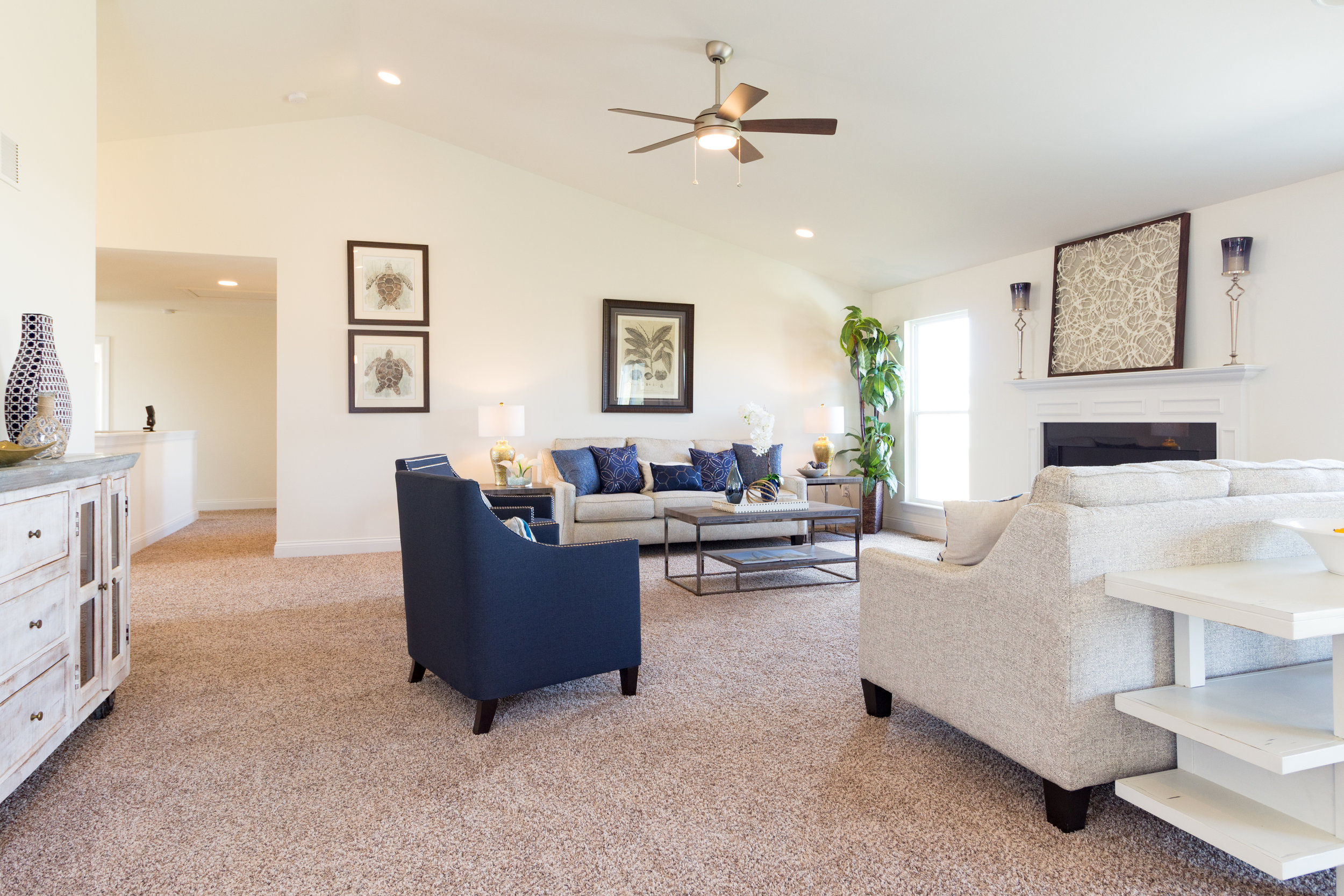 blue accent open living room