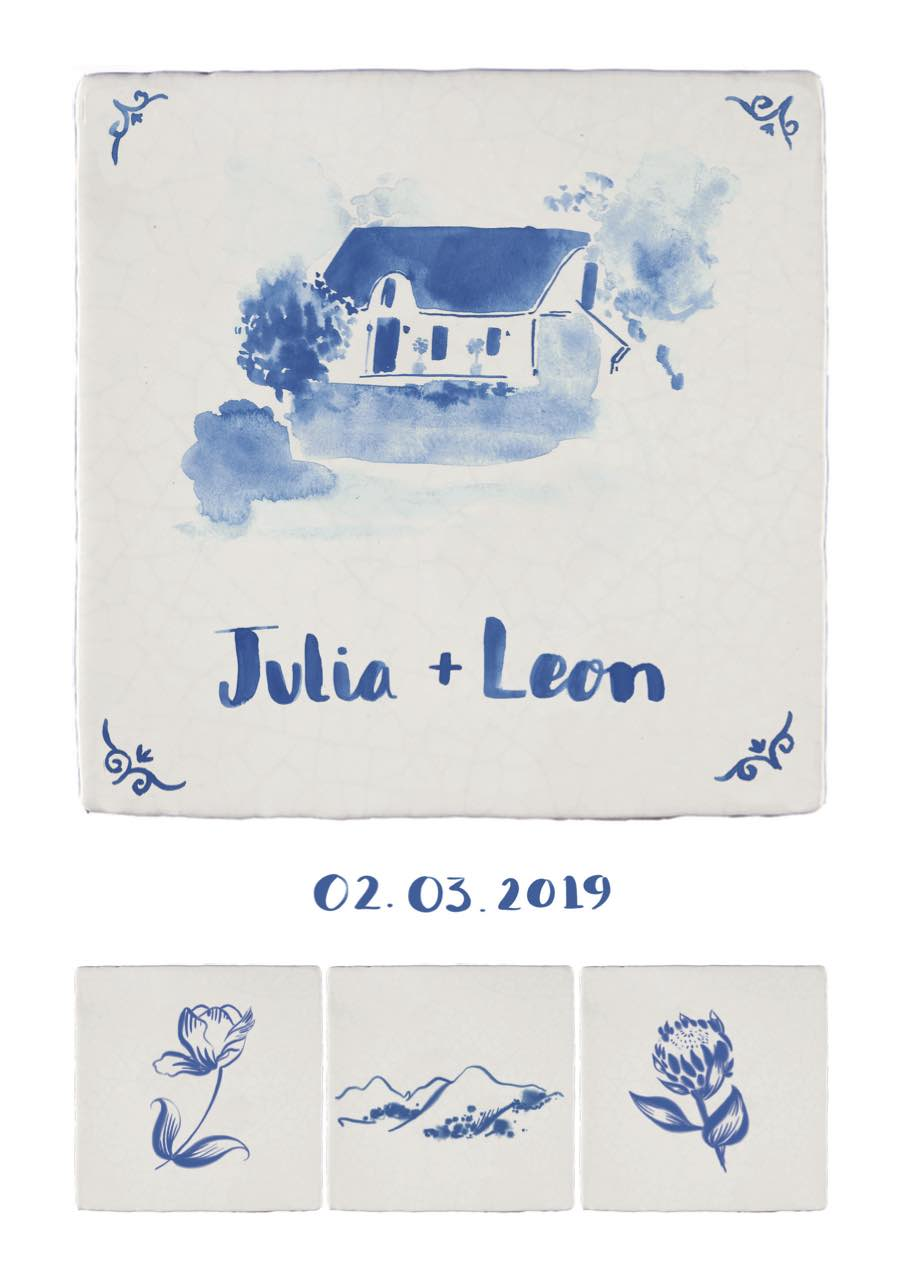 wedding invitation illustrated painted delft tile floral locationjpg