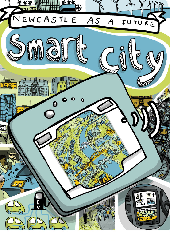 Illustrated guide to Newcastle Upon Tyne's future 'smart city'. Created with Newcastle University. All about renewable energy, the smart grid, using public transport, electric cars and bicycles, and generally making Newcastle a greener city.