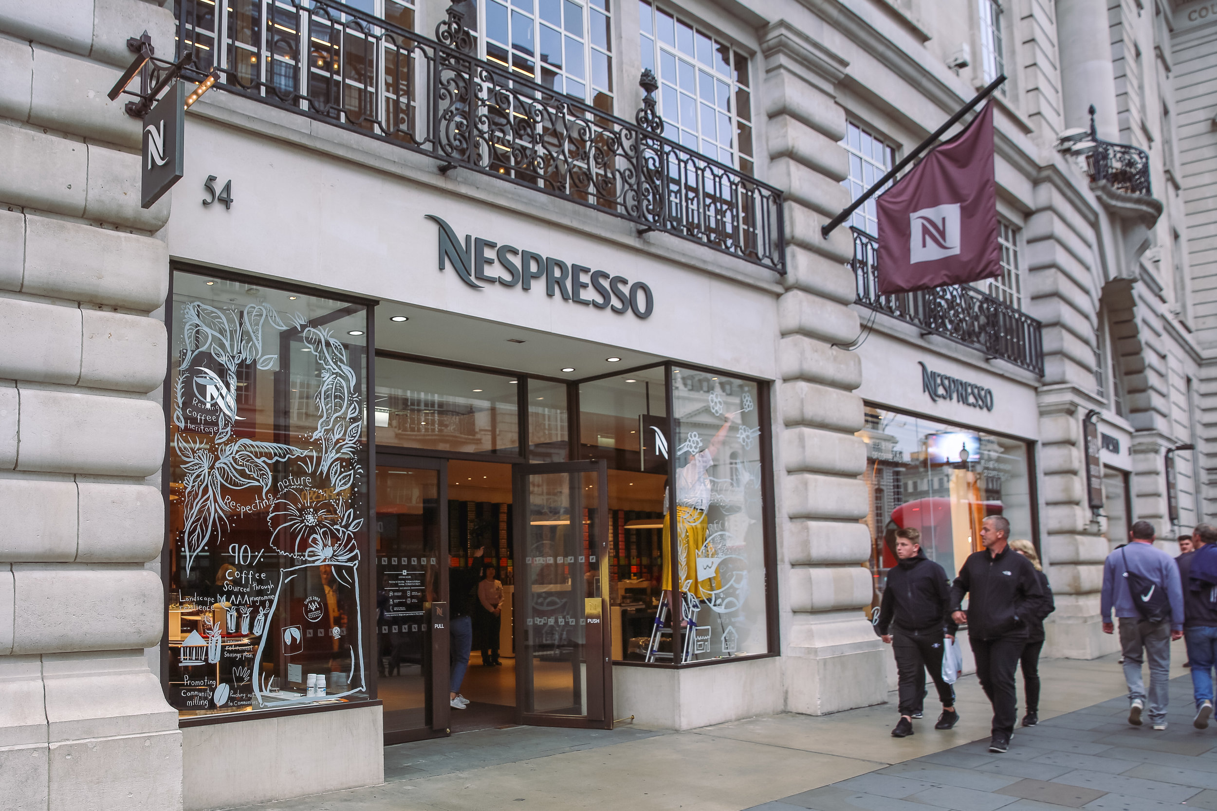 nespresso flagship store regent street live illustration window painting