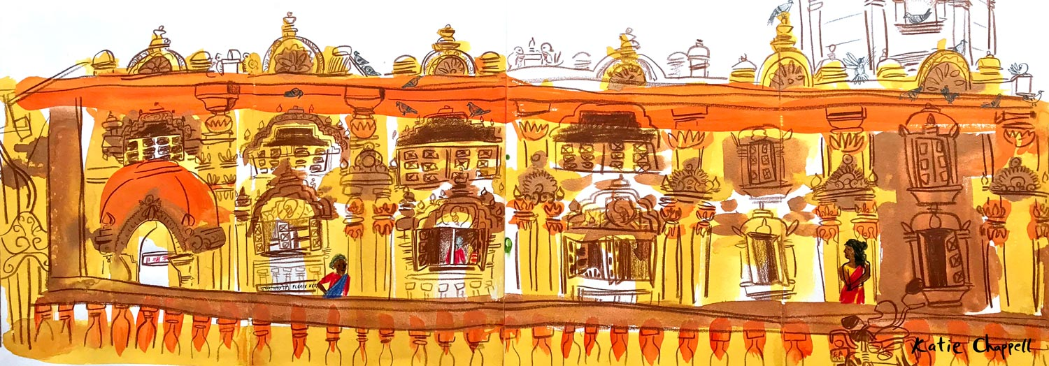 Mahalxmi temple, painted in Panaji in April 2019. A free print of this painting with every eSketchbook sale.  Click here  to shop.