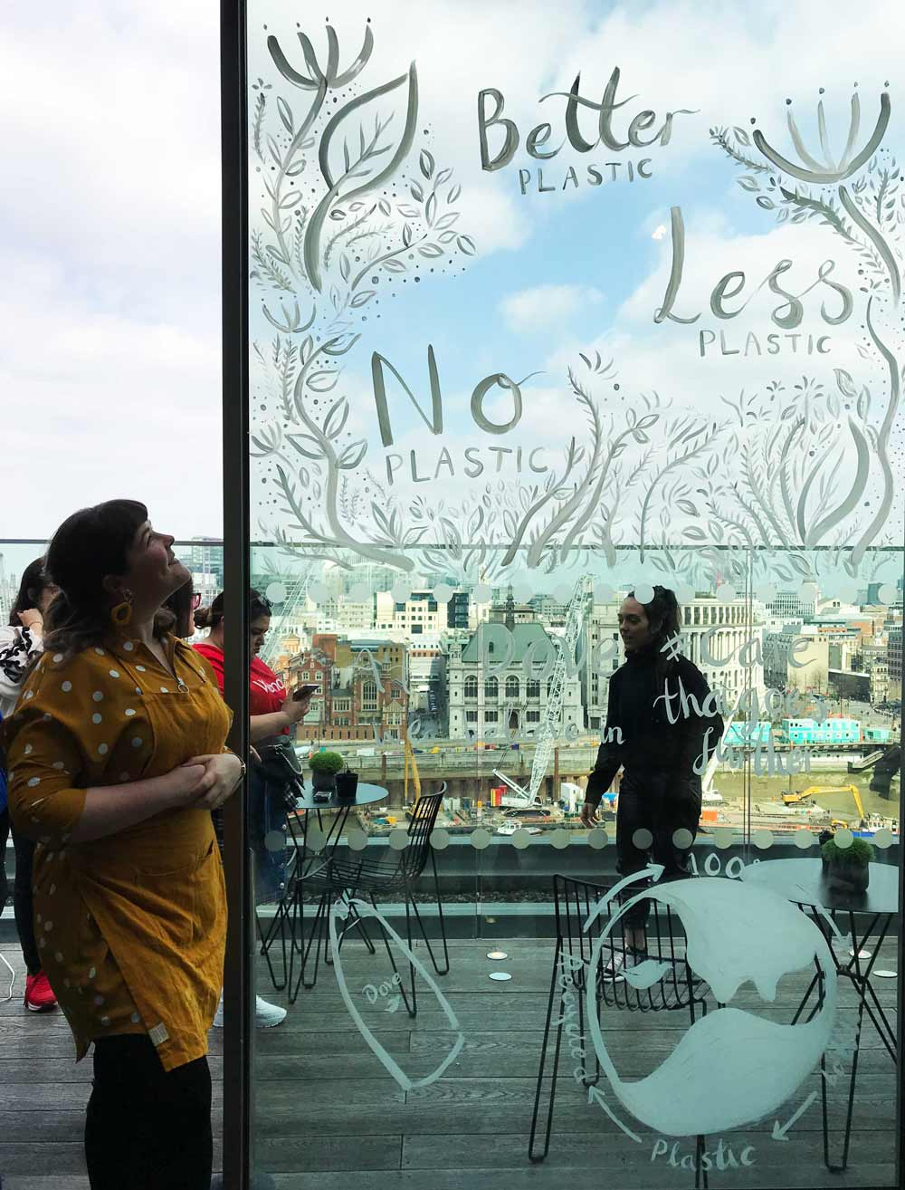 Window painting / live mural on glass for Dove's sustainability event in London, UK.