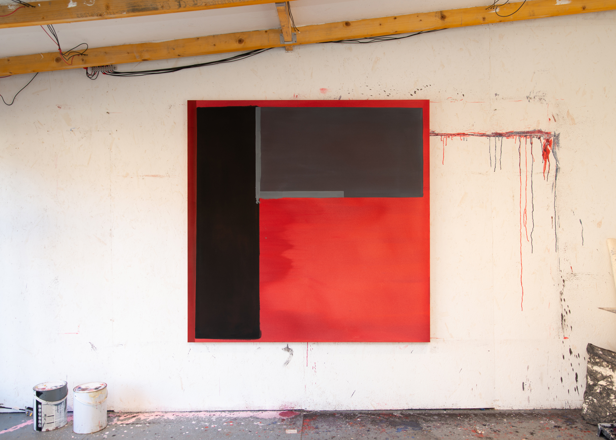 'Red, Black, Grey', 2018, Acrylic on Canvas, 150x150cm. Image