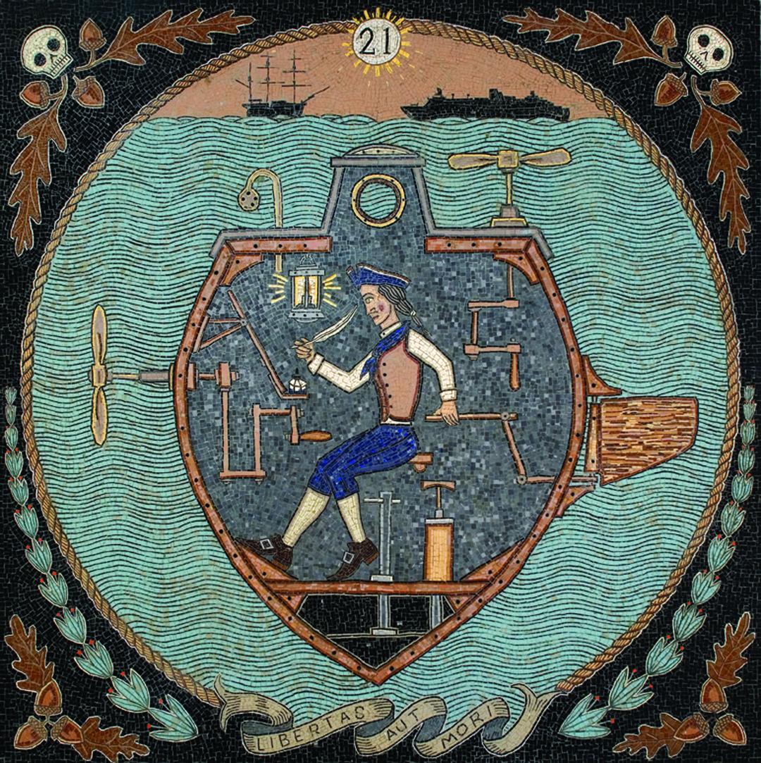 Duke Riley,  Libertas Aut Mori , 2007, mosaic. Photo courtesy the artist.