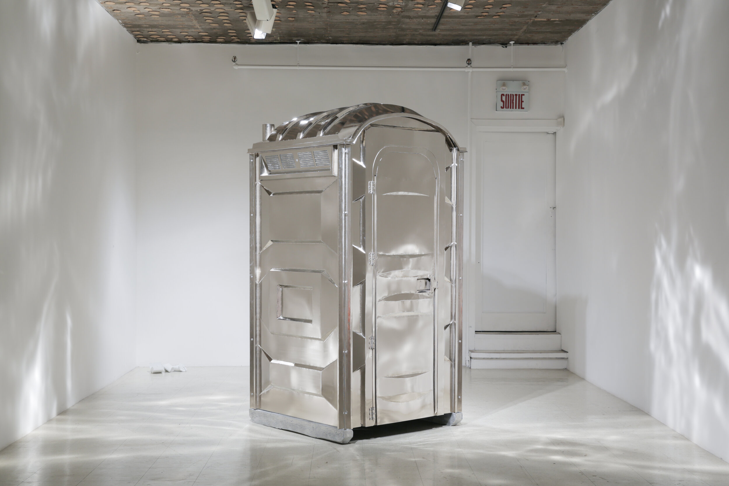 Zeke Moores,  Port-O-Potty , 2011, nickel plated steel, cast aluminum, 84 in x 46 in x 46in, courtesy of Art Mûr