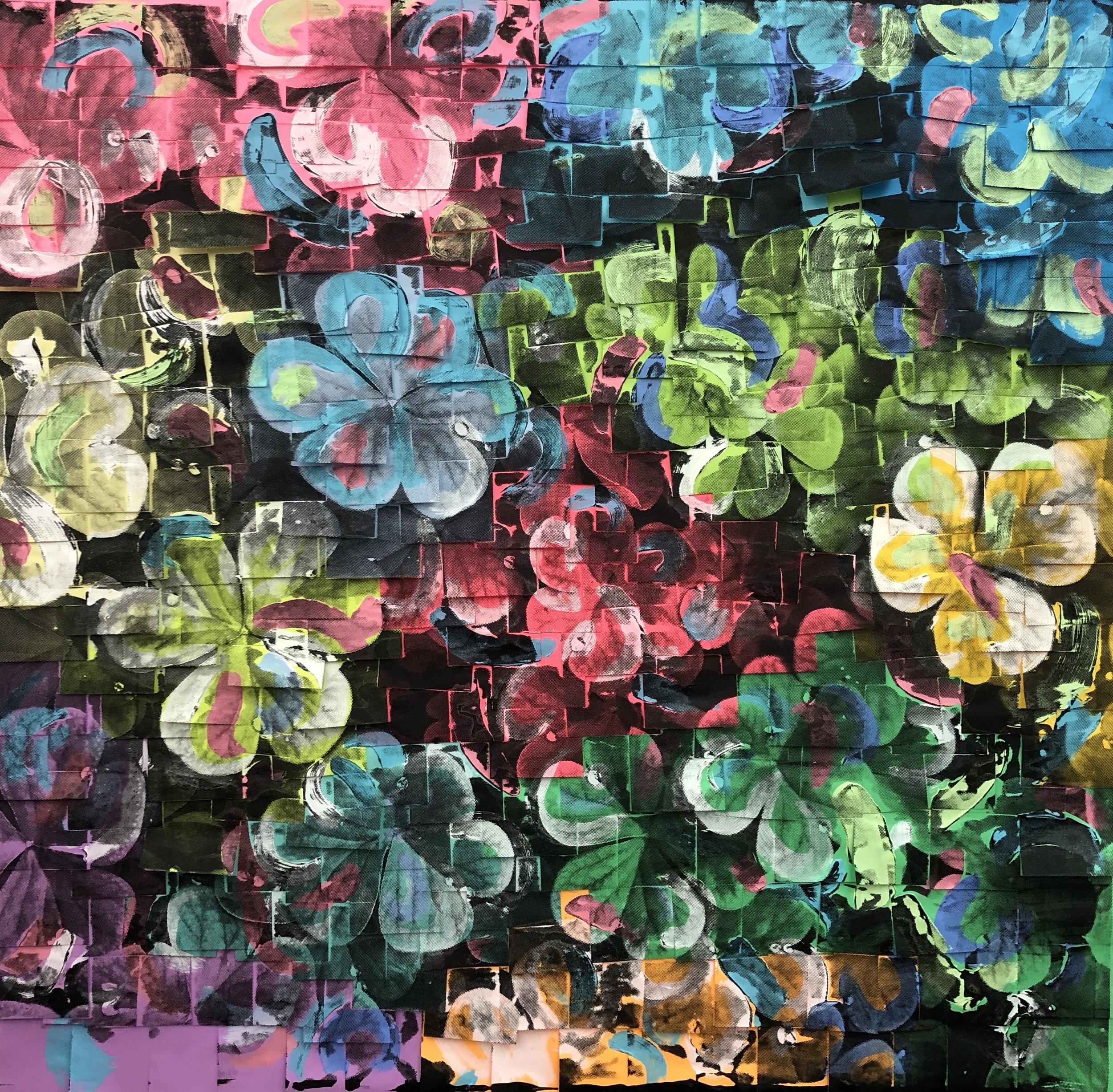 Anna Laudel Gallery, Ardan Özmenoglu, Good Luck, 2019, Painting and screen printing on post-it notes, 36x36in.jpg