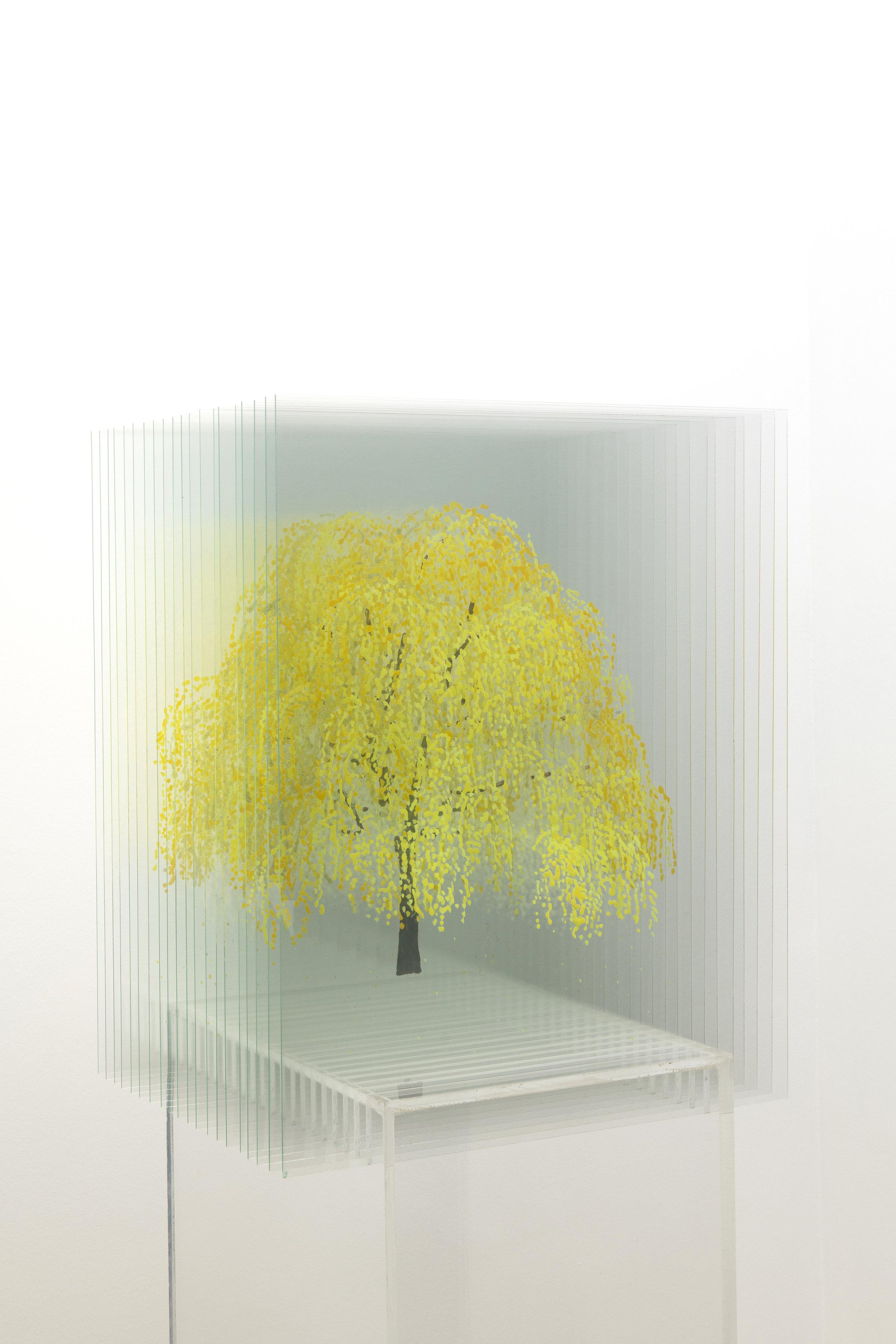 Anna Laudel Gallery,Ardan Özmenoglu, Fall in Love, 2018, nail polish on glass panels and plexi base, 59x18x17in,image 2.jpg