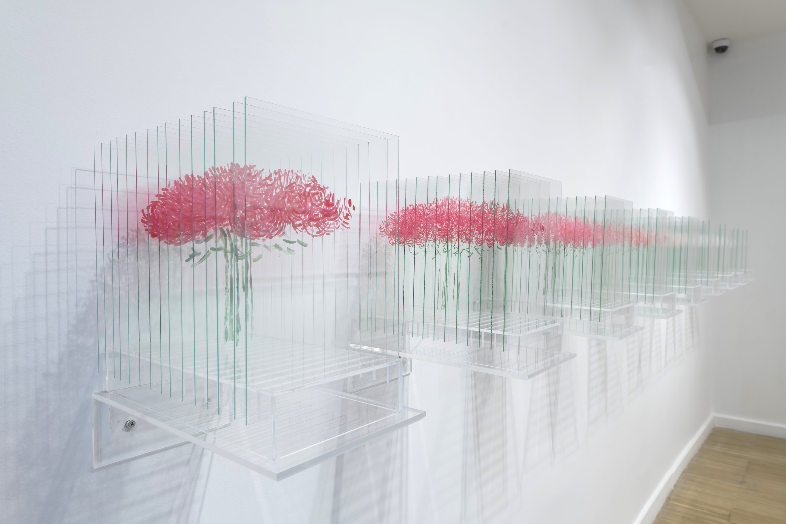 Anna Laudel Gallery,Ardan Özmenoglu, Pantone Pink Rose 1-9, 2018, Nail polish on 15 glass panels on plexi base, 13x8x15.5in each,2.jpg