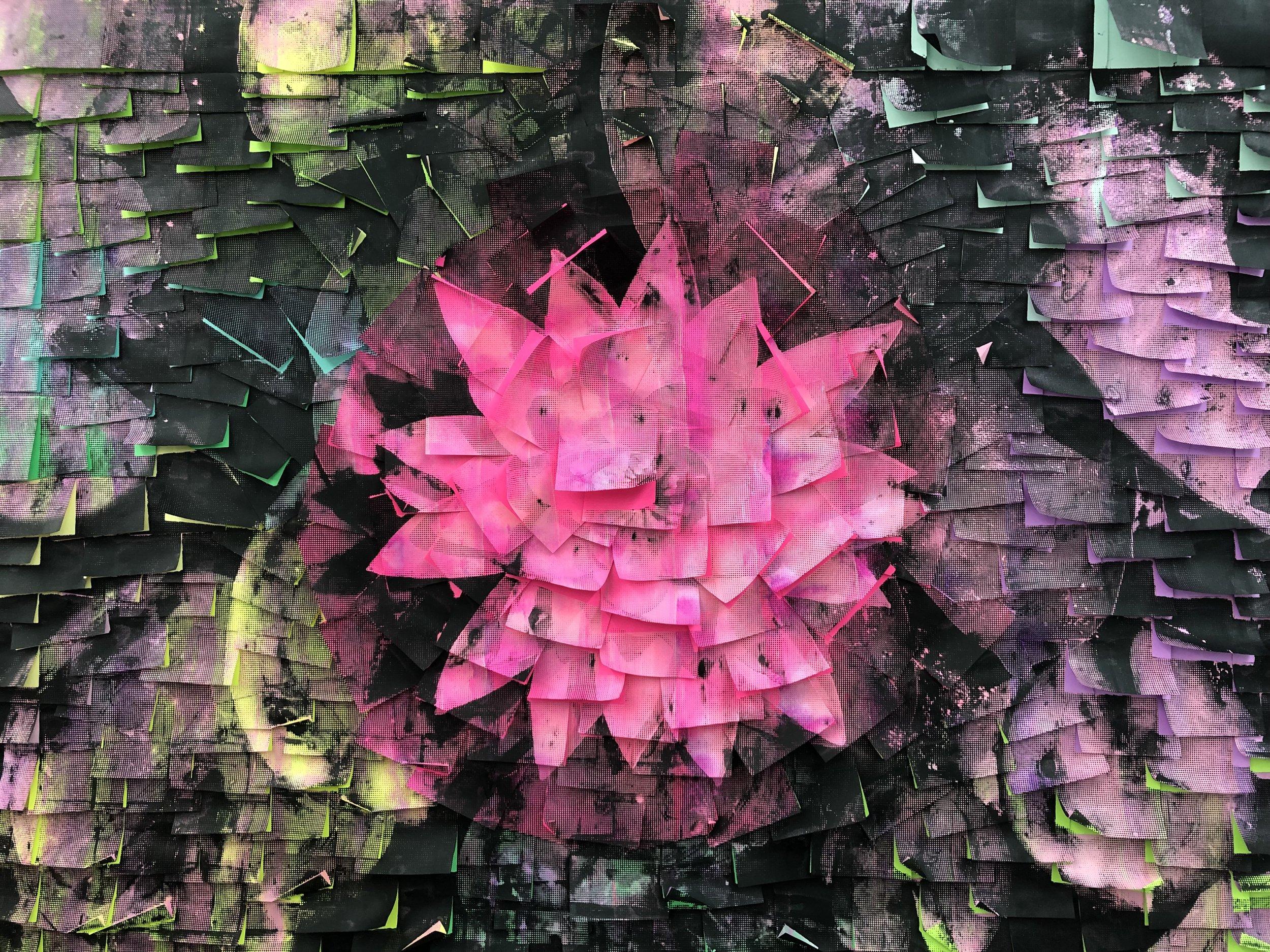 Ardan Özmenoglu,  Allien , 2019, Painting and silk screen printing on post-it notes, 31.5 x 42 in.