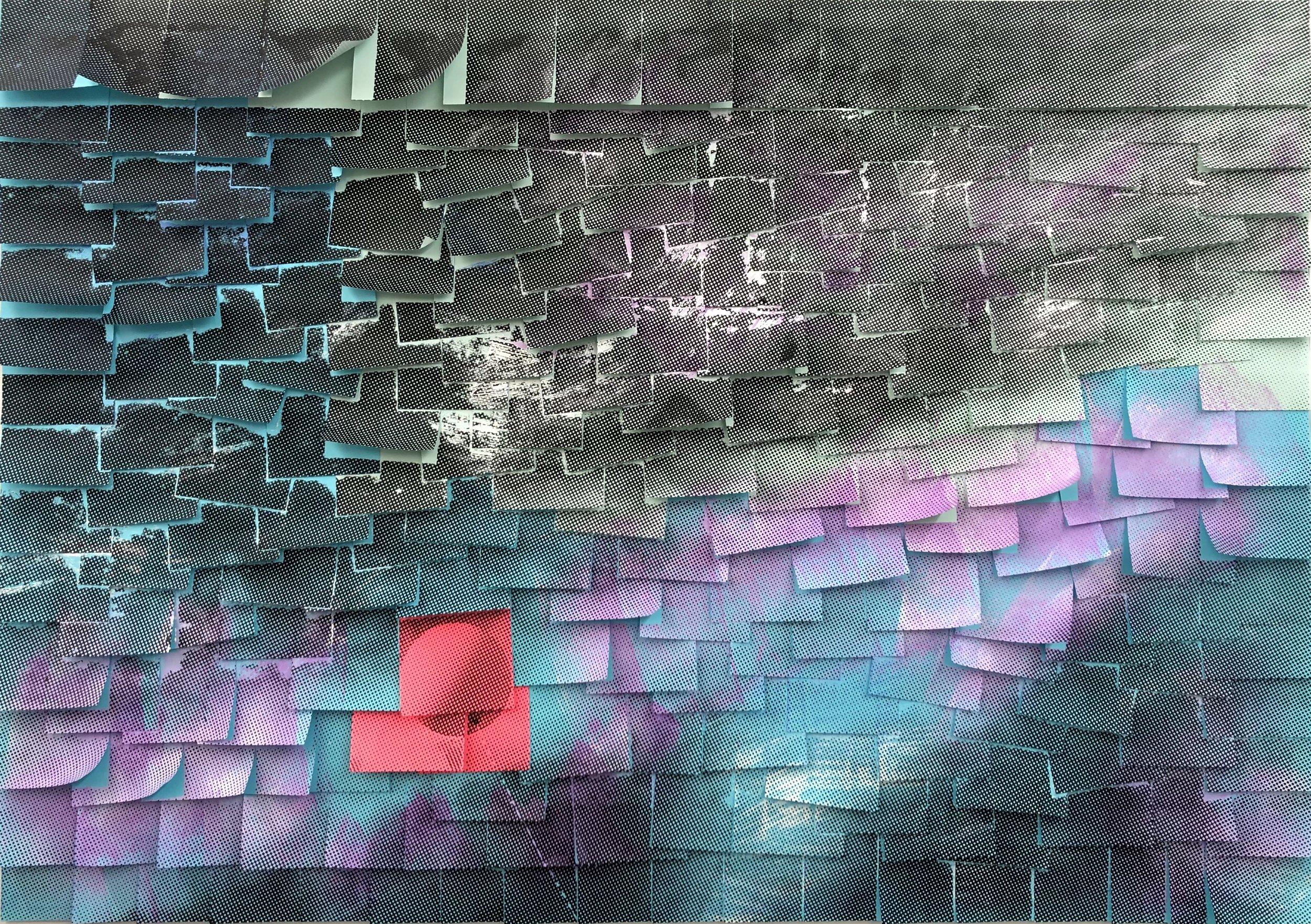Ardan Özmenoglu,  Joy , 2019, Painting and screen printing on post-it notes, 25 x 35.5 in.