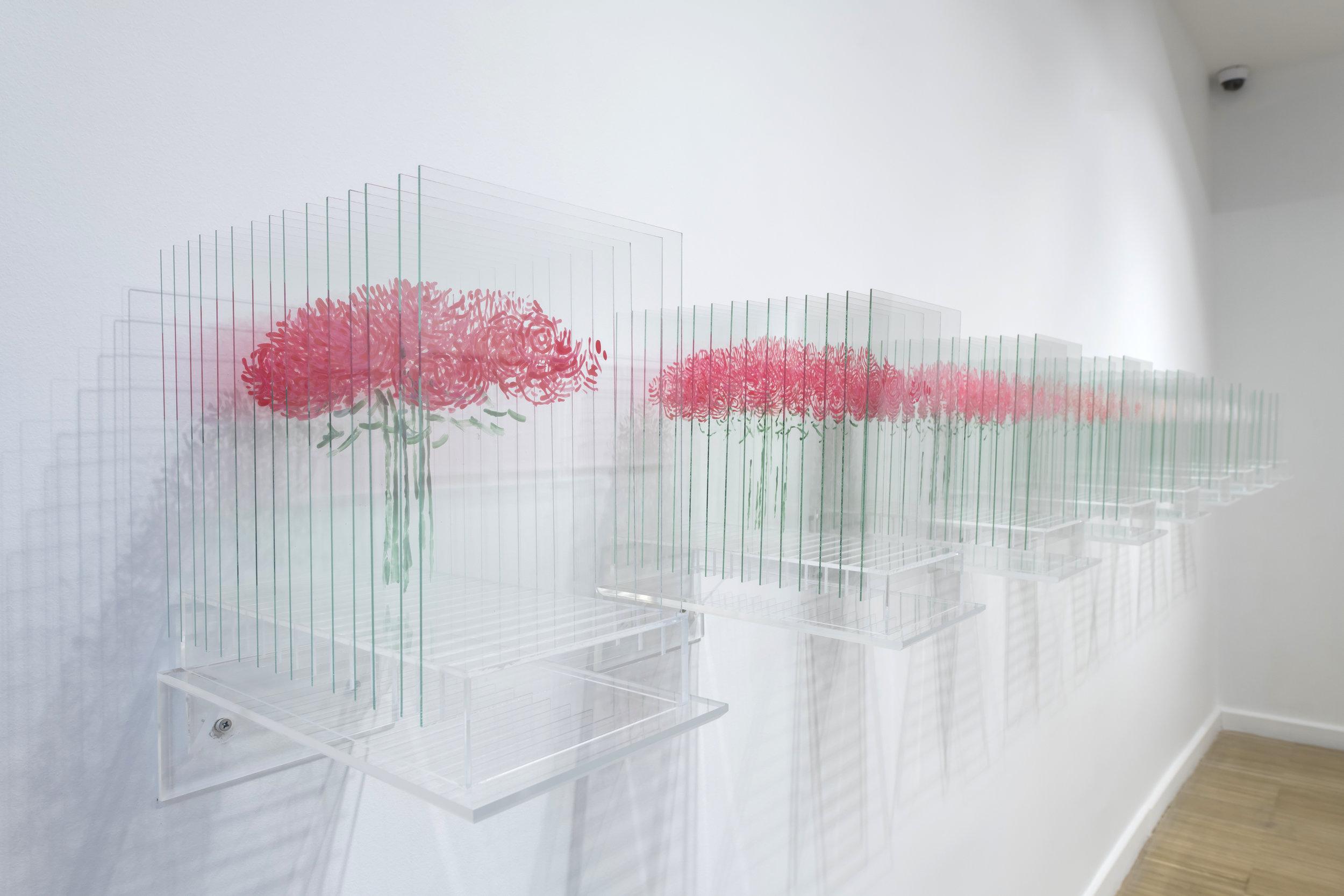 Ardan Özmenoglu,  Pantone Pink Rose 1-9 , 2018, Nail polish on 15 glass panels on plexi base, 13 x 8 x 15.5 in. each