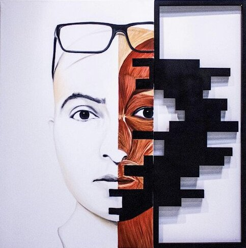 D'Arte mart(eKo-System Inc)_Jugal Patel_My Face_Oil on canvas and wood_40%22x40%22_$7,000.jpg