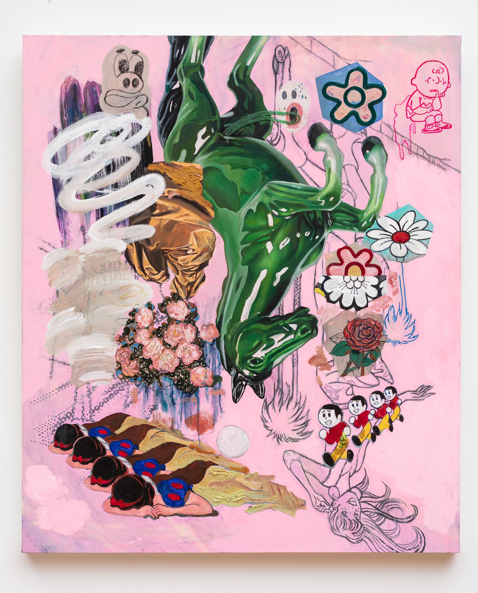 KContemporaryArt_Min_Green Horse (Charlie Brown and Snow White)_2019_Rabbit Glue, Oil paint, Korean Pigment, Glass Bead, Crystal on Raw Canvas_40x30_9000.jpg