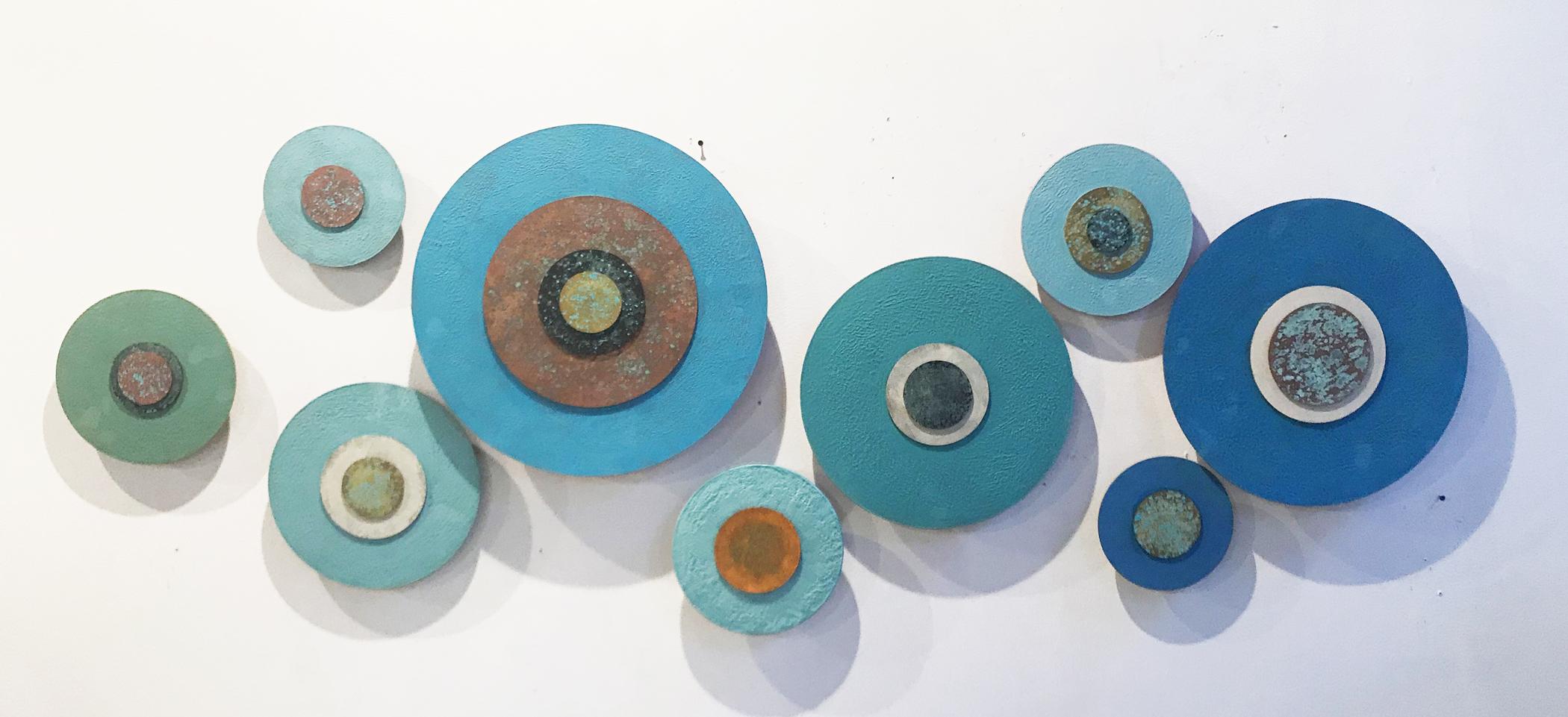 Kolman & Pryor Gallery_Jodi Reeb_True Blue Series_2019__encaustic and metallic paint on acrylic disk_32 x 80 x 2 inches_�5925.jpg