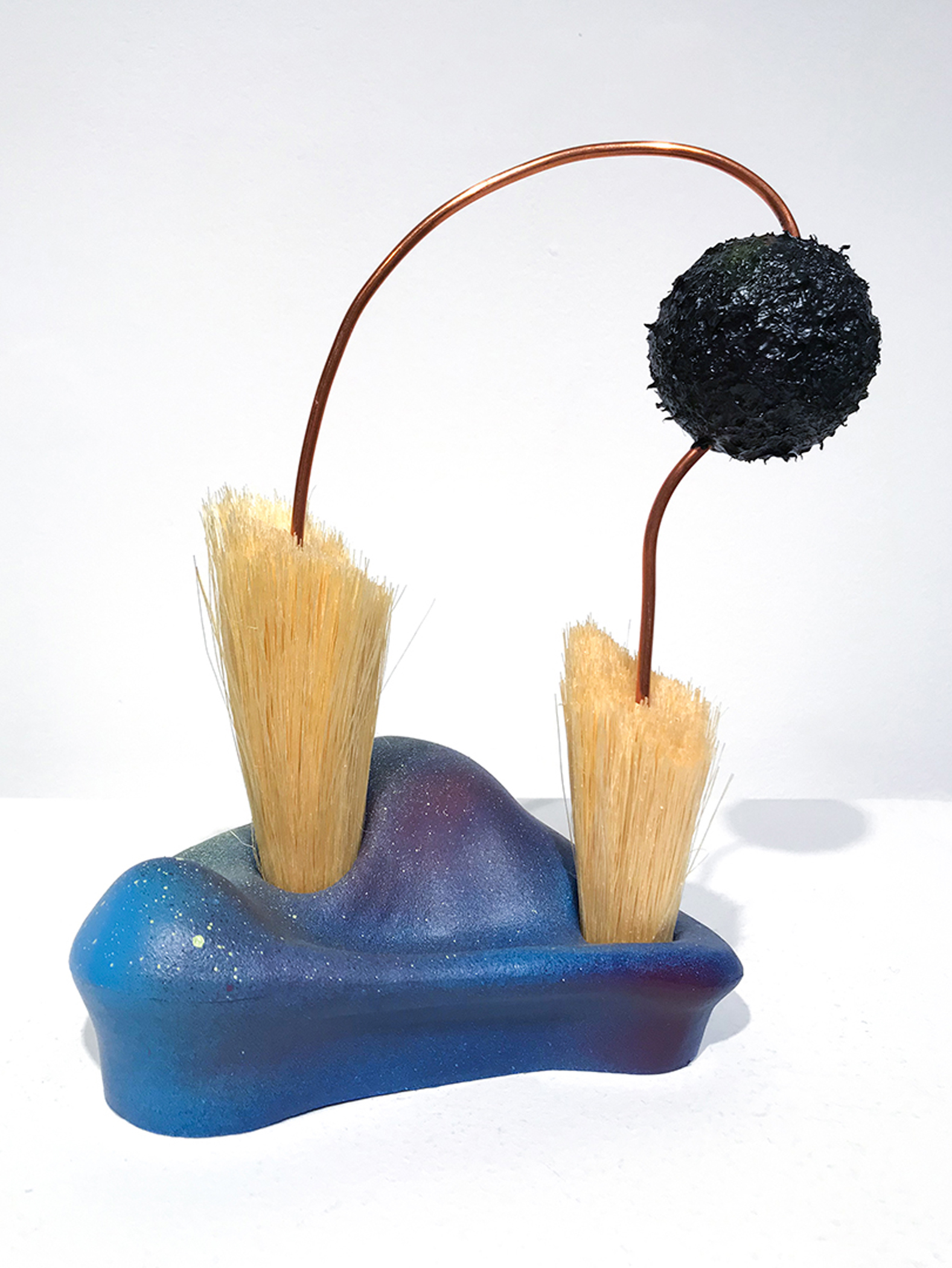 Kolman & Pryor Gallery_Kate Casanova_Untitled 27_2019_climbing hold, broom fibers, copper wire, foam, and acrylic and spray paint_8.5 x 7 x 4 inches_�375.jpg