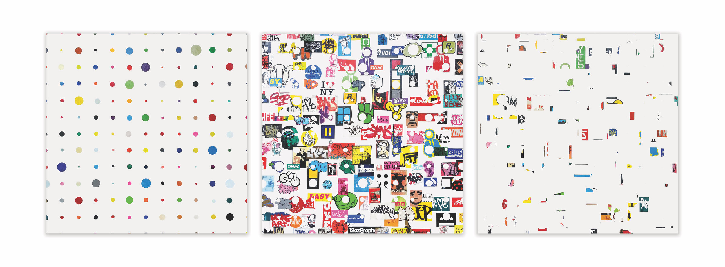 Egon Zippel, 'Broadway Boogie Woogie' (Tag Style), 2014, Stickers from NYC and pencil on canvas, Triptych, each panel 48 x 48 inches. .jpg