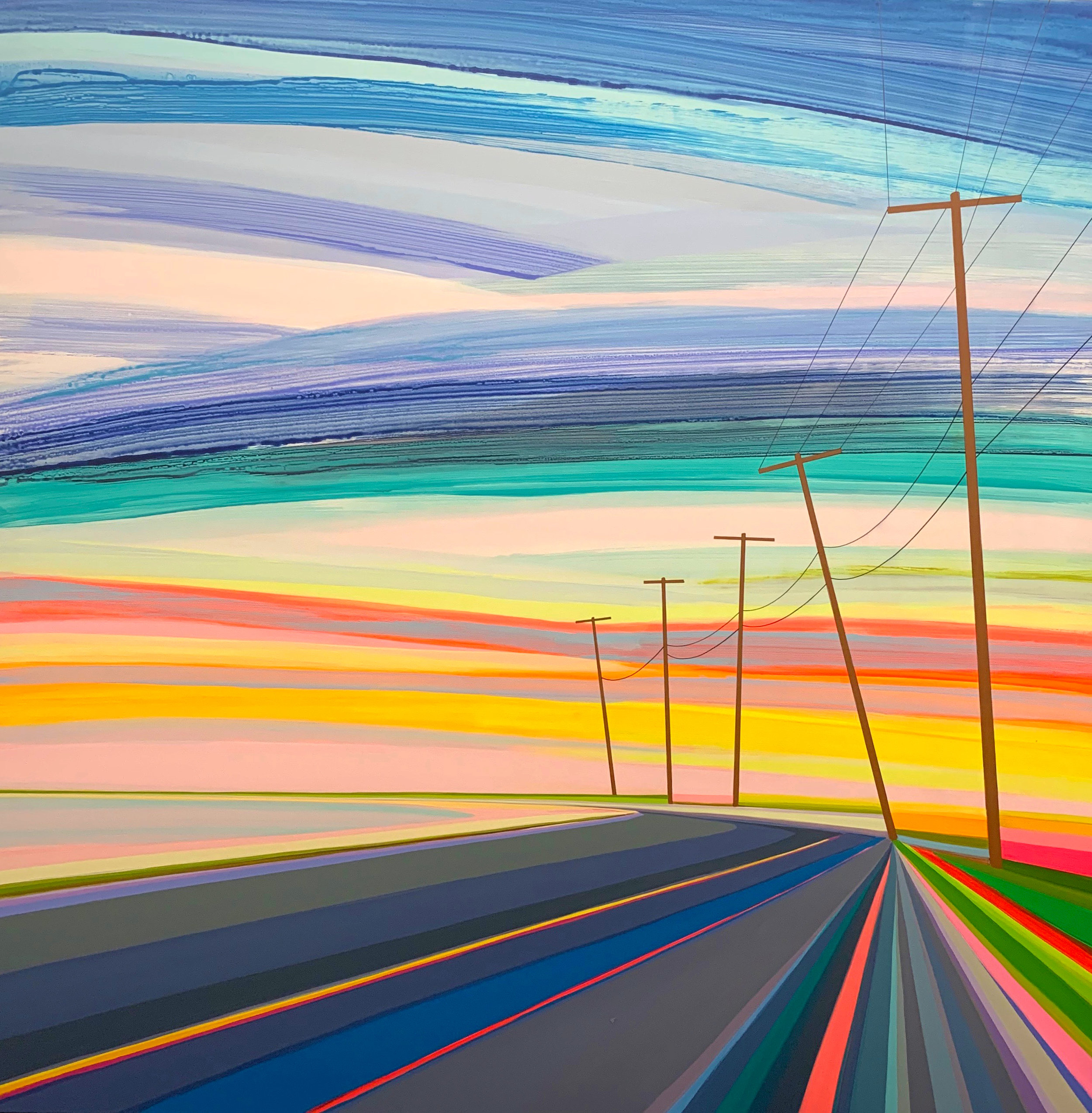 ROMAN FINE ART, Grant Haffner, Goodnight Long Beach, 2019, Acrylic and graphite on panel, 48x48in.jpg