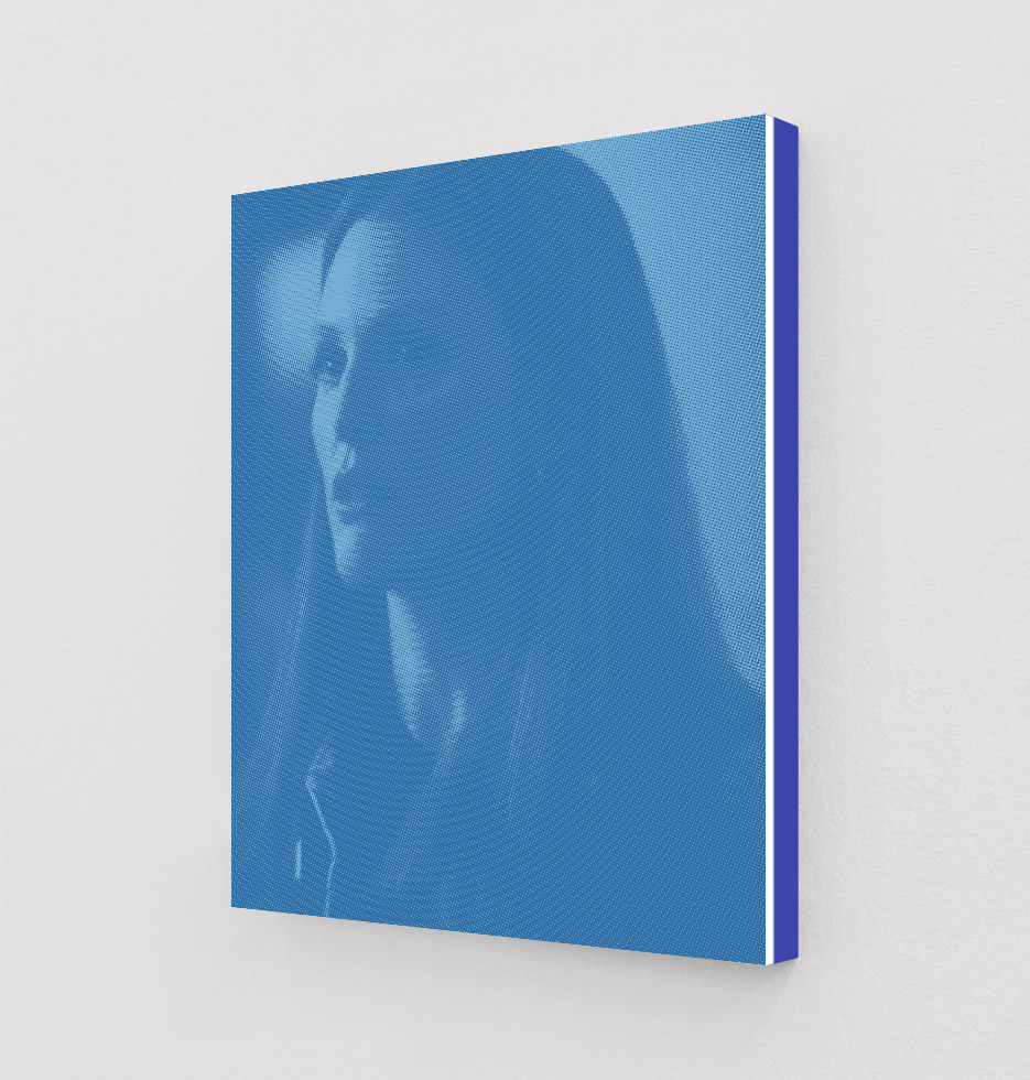 ClampArt_DanielHandal_Julianne Moore as Clarice (Egyptian Blue)_2019_Two-Color-Screenprint, Painted Museum Box_19x15x1.5in_Edition of 3 + 1 AP_Price starts at 1800USD.jpg