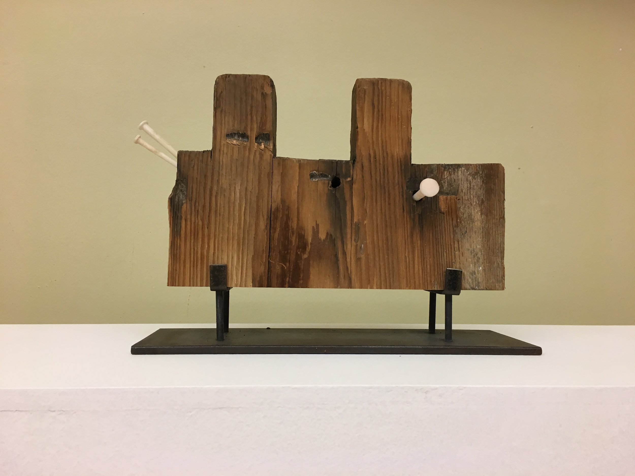 David Lusk Gallery, Greely Myatt,  Notched , 2019, Alabaster, found wood, steel, 8 x16 x 4in.