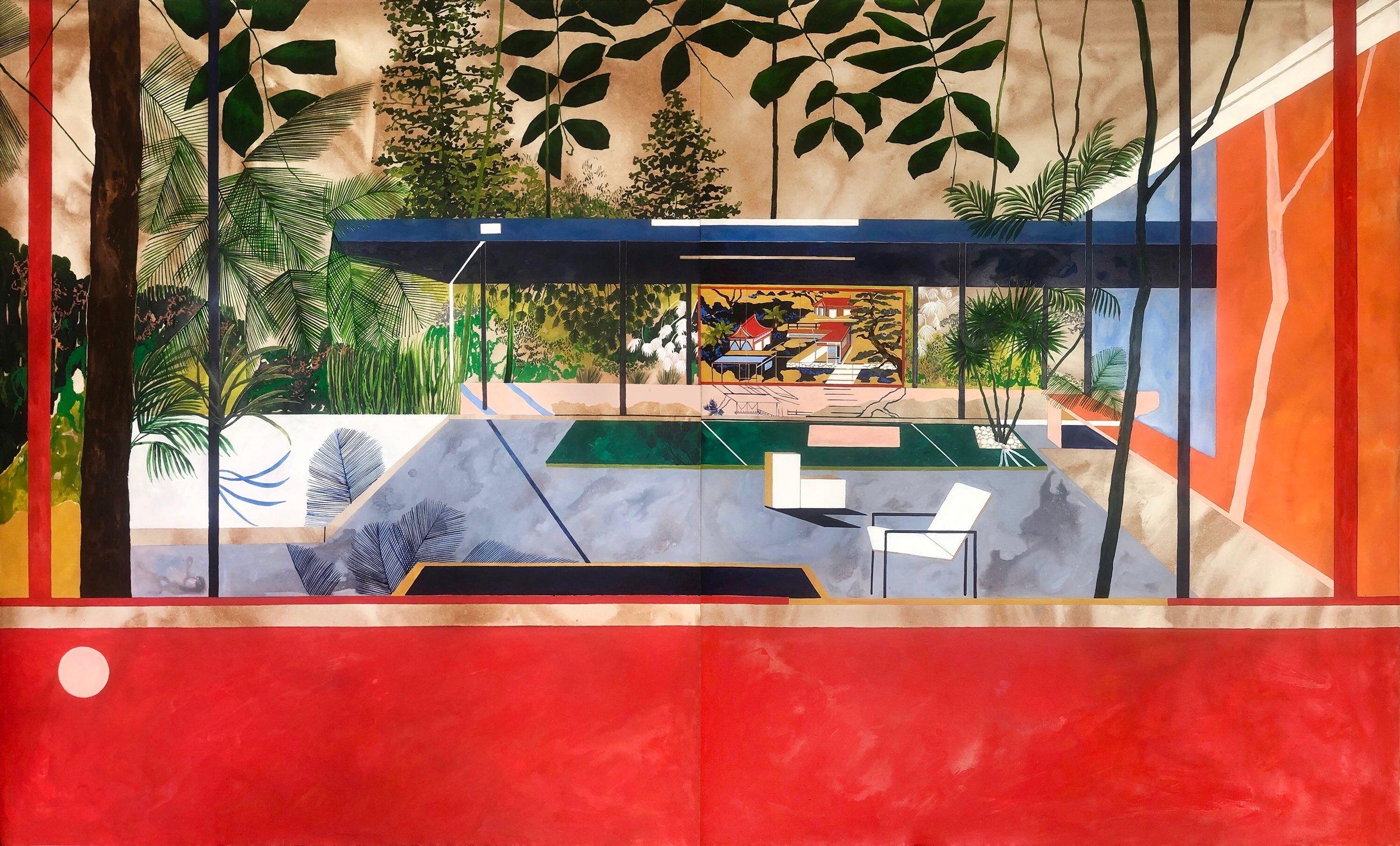 Arusha Gallery , Charlotte Keates,  Tropical Energy , 2019, Oil on board, 52 x 83.5 in.