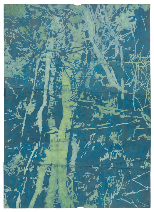 David Lusk Gallery , Maysey Craddock,  Ghosts in the water , 2018, Gouache and thread on found paper, 50 x 36 in.