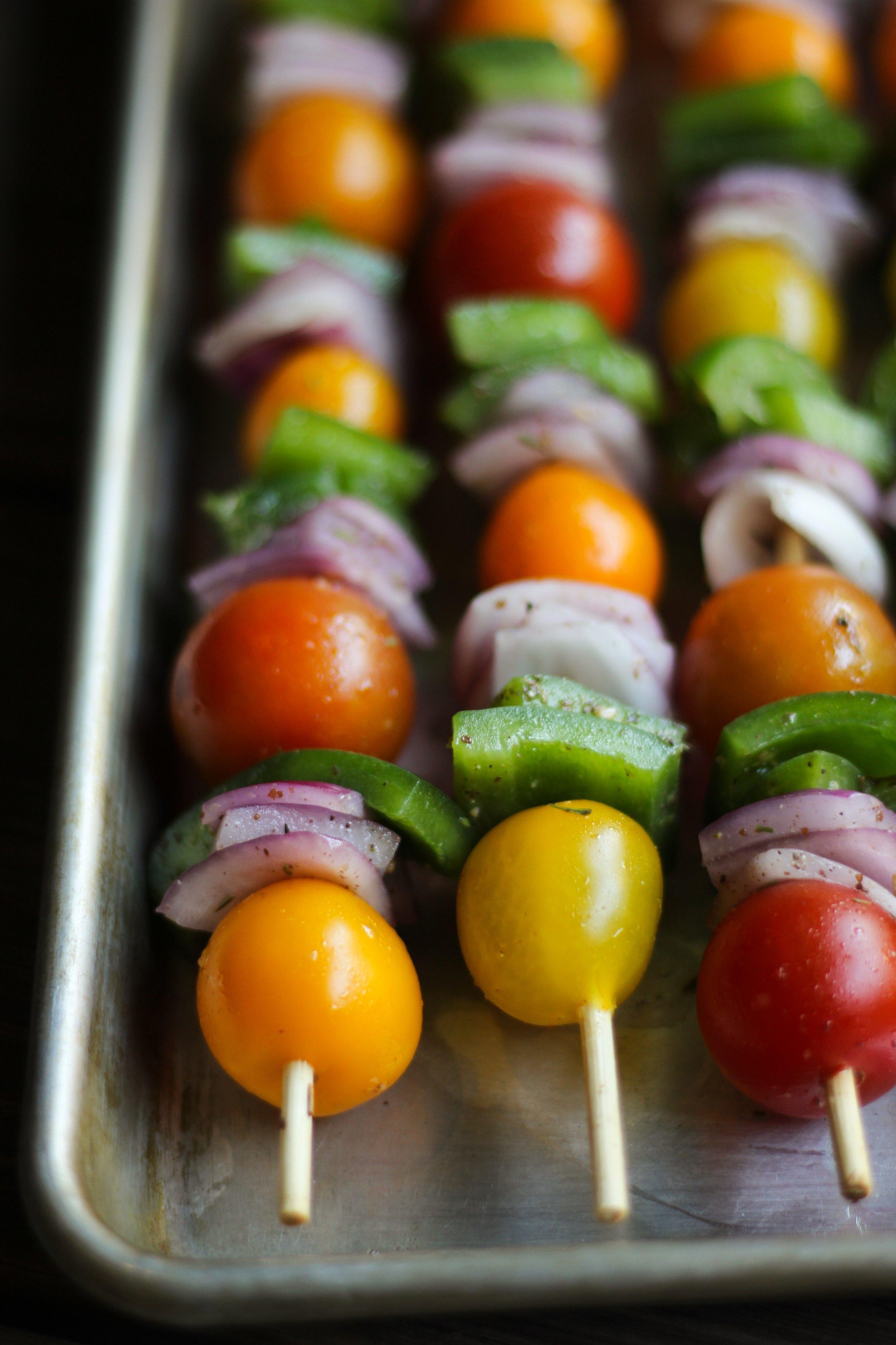 red onion, tomato, bell pepper shish kebab