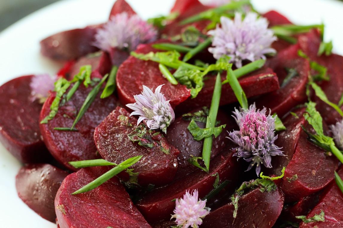 beet & blossom salad