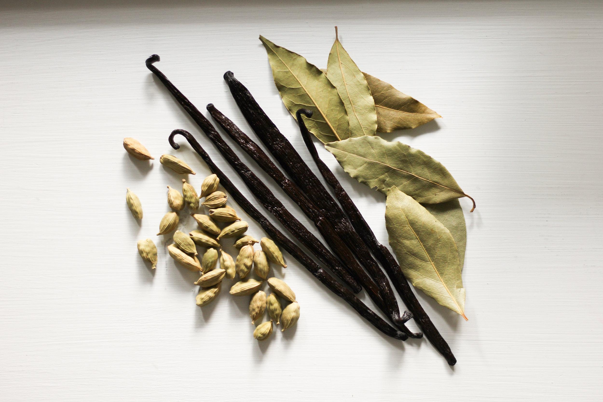 cardamom, vanilla, bay leaves