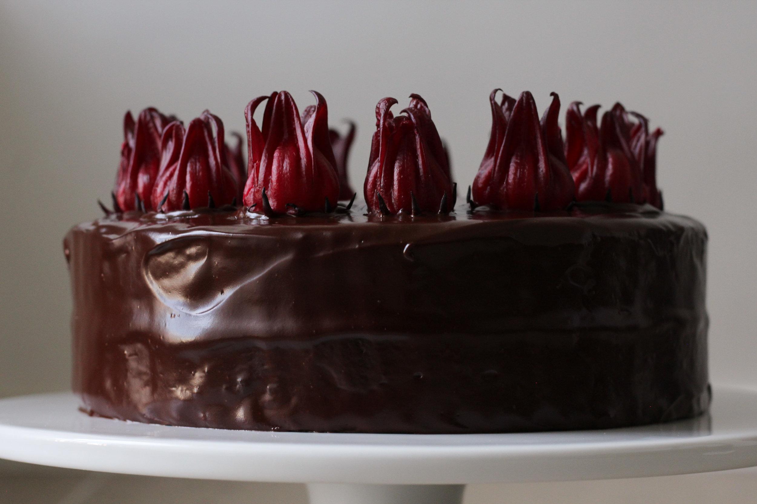 chocolate hibiscus cake