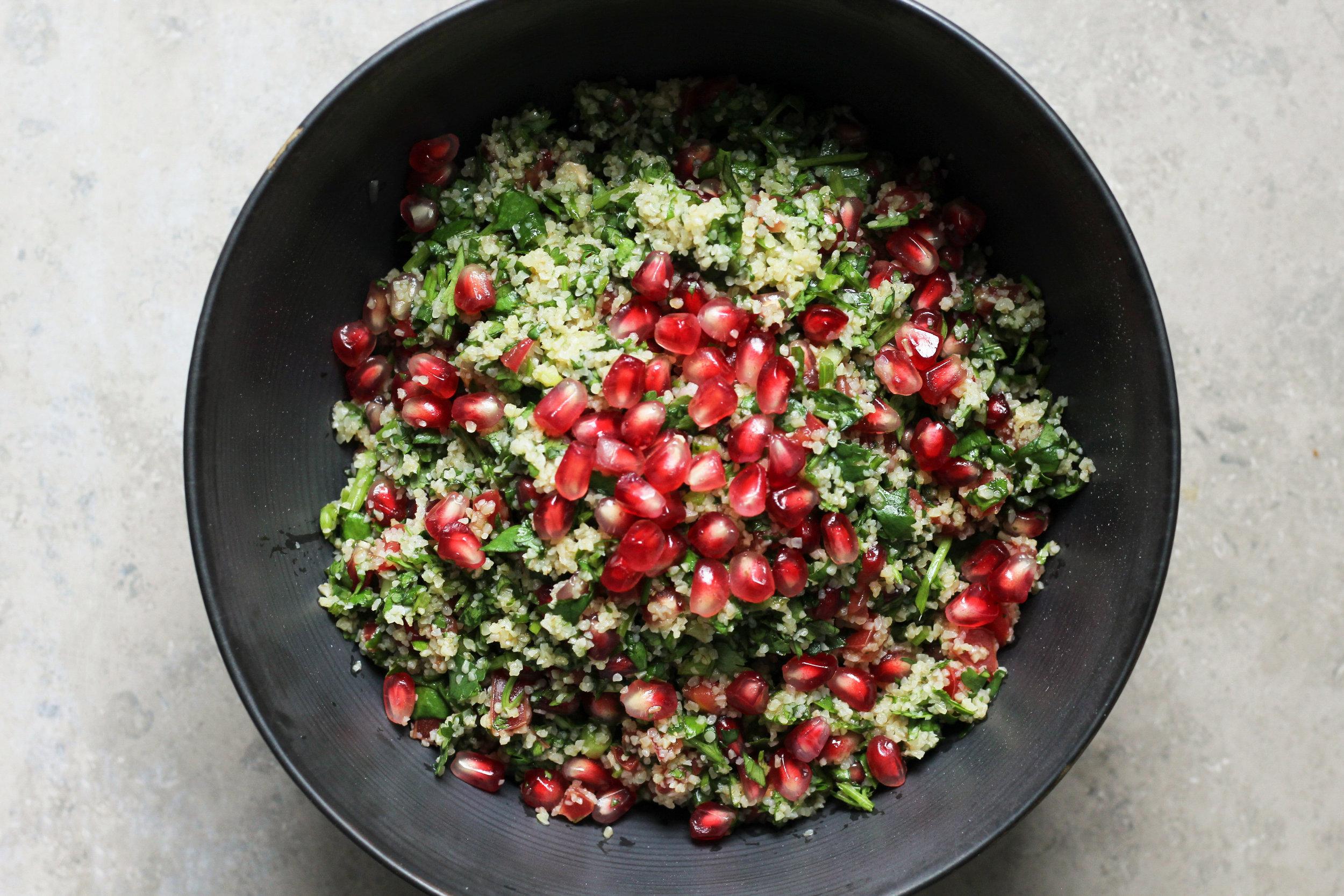 cilantro pomegranate tabbouleh