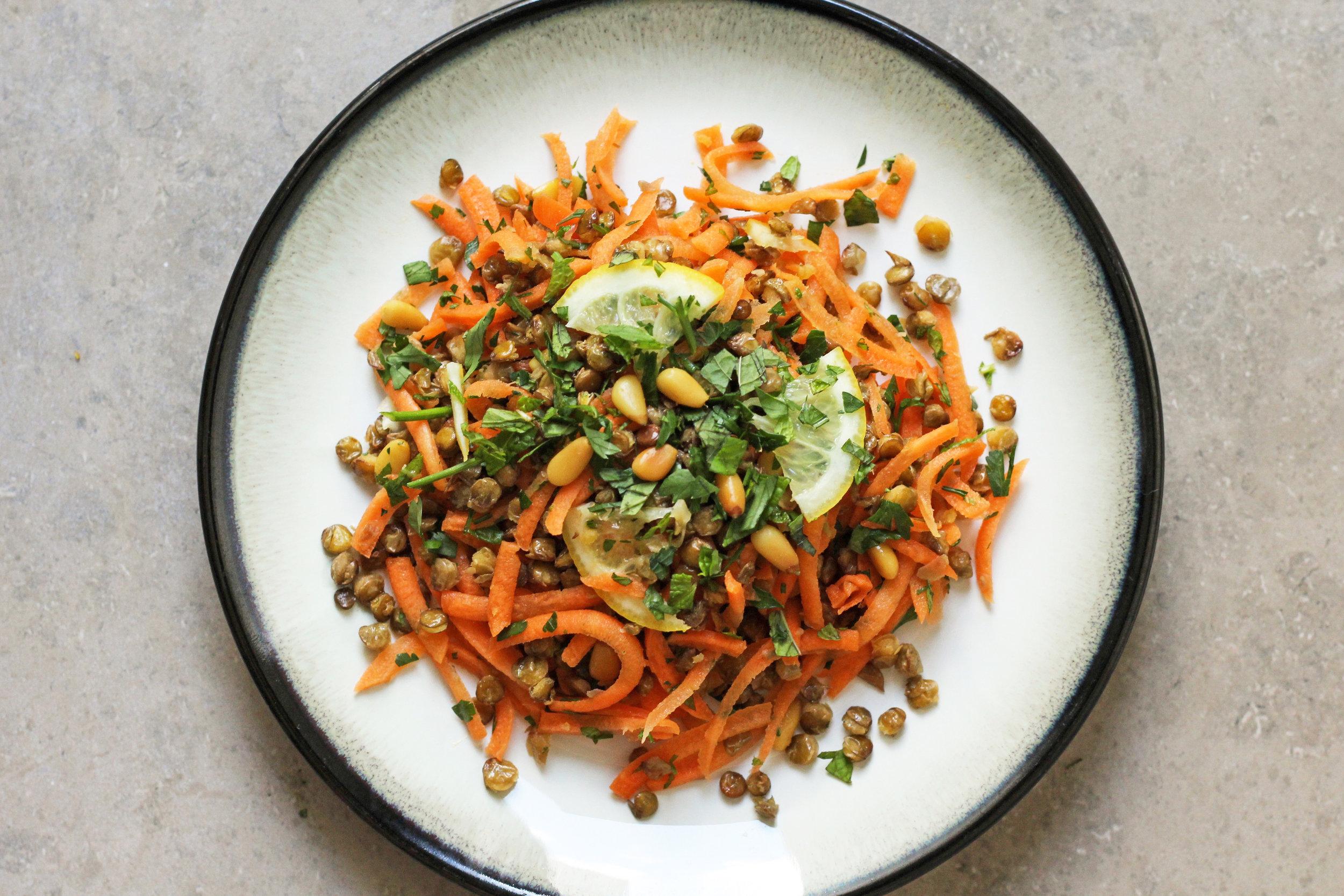 crispy lentil and carrot salad with quick-pickled lemon