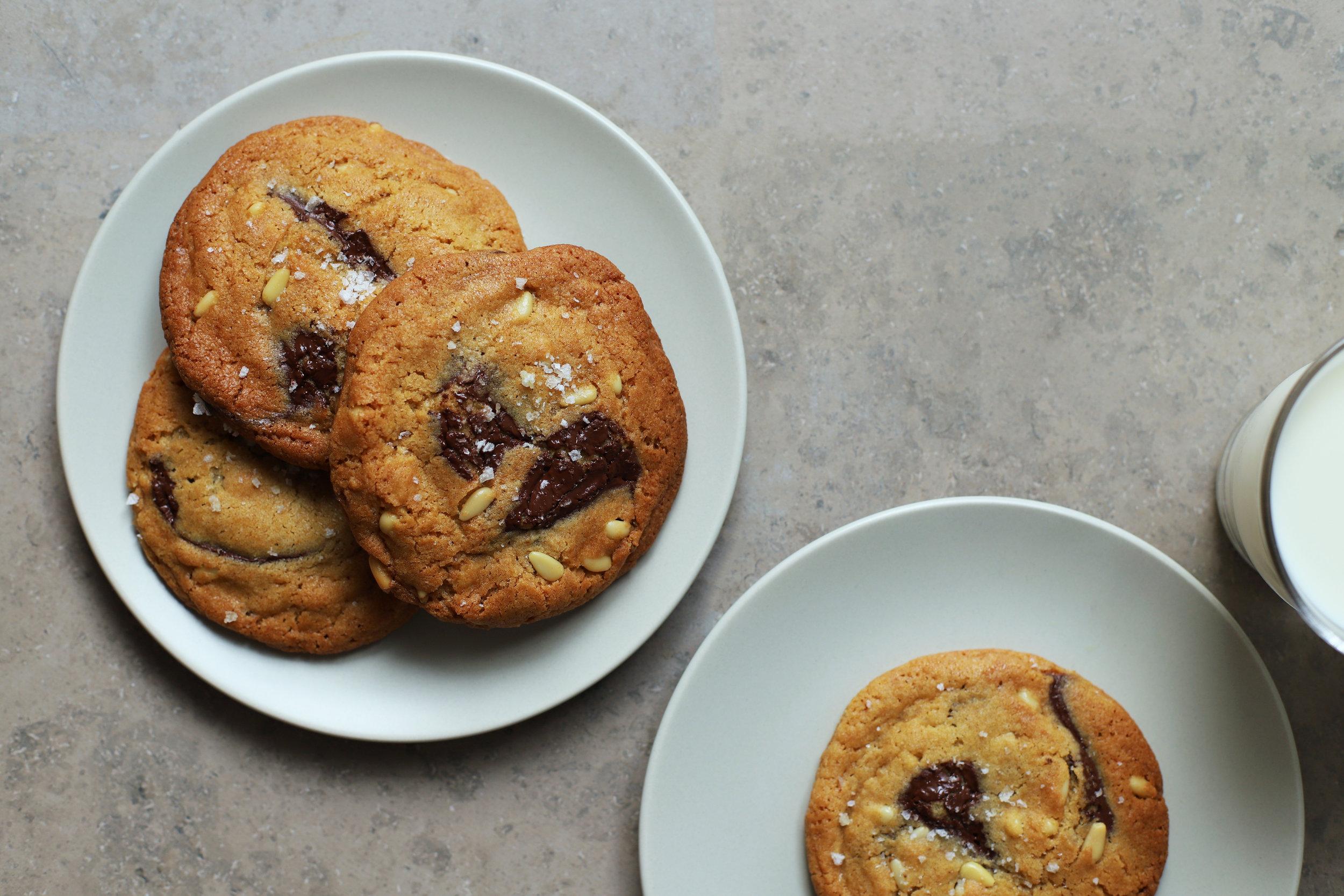 chocolate chunk pine nut cookies