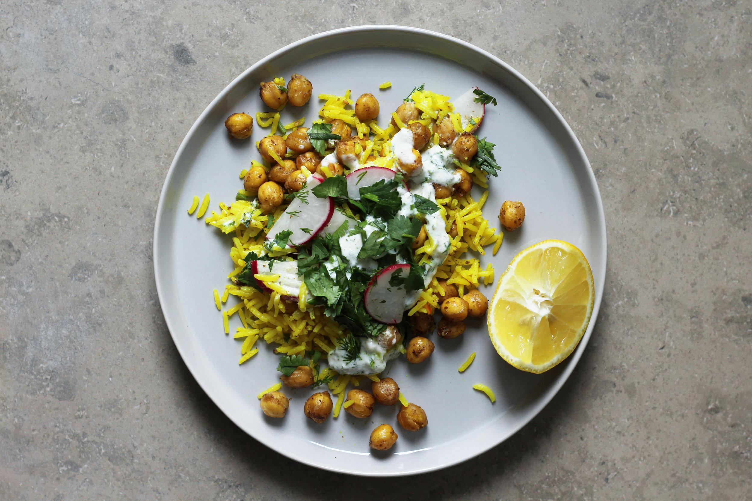 chickpeas & rice with jajik