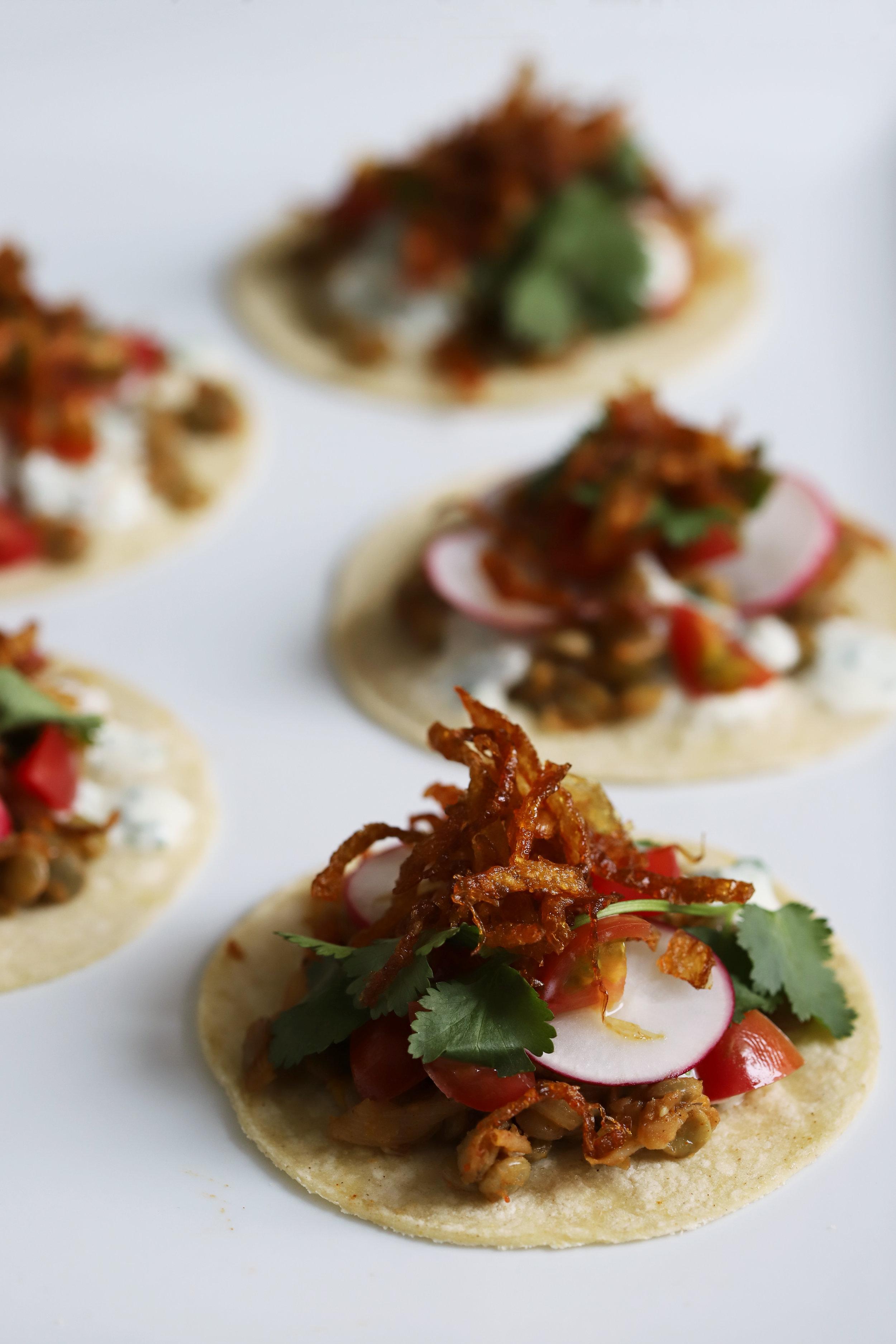 mujadara style tacos