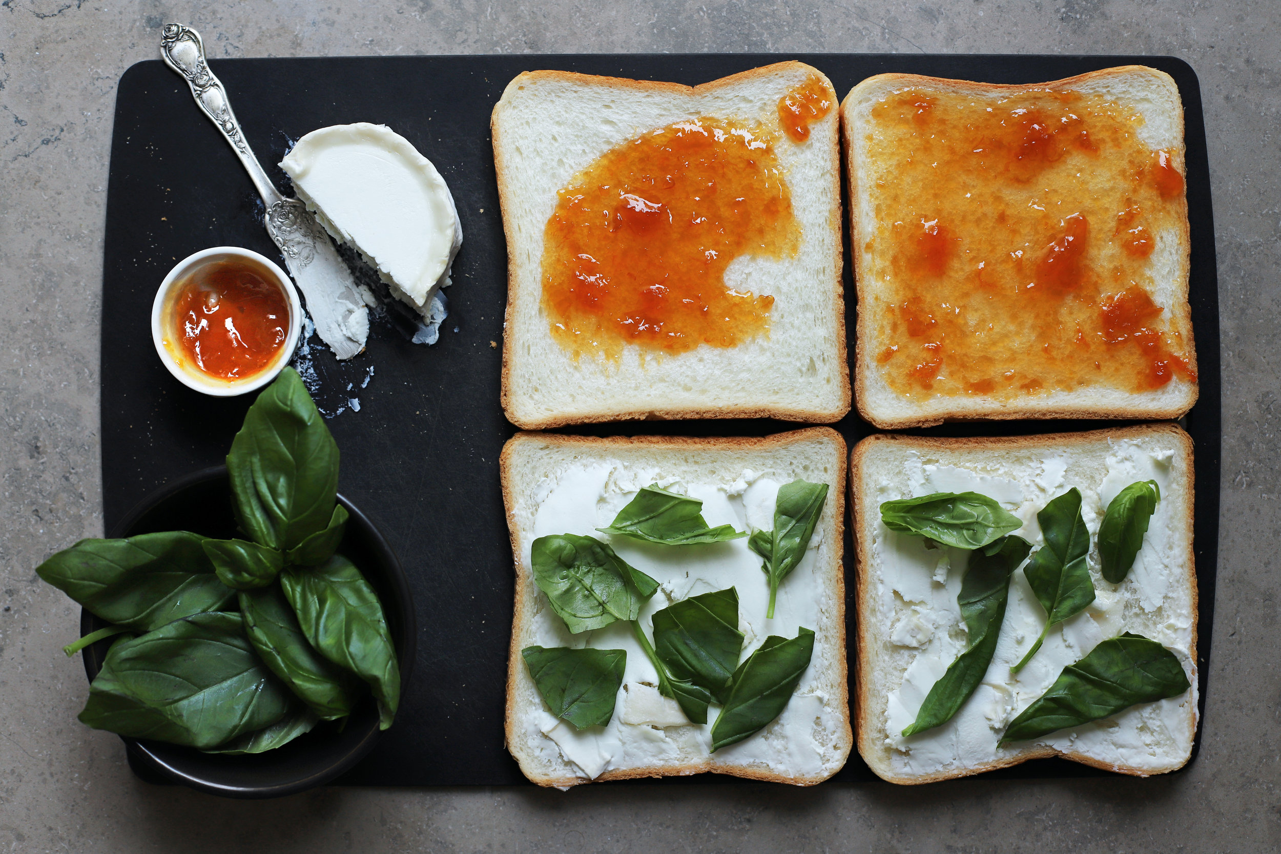 apricot basil grilled cheese