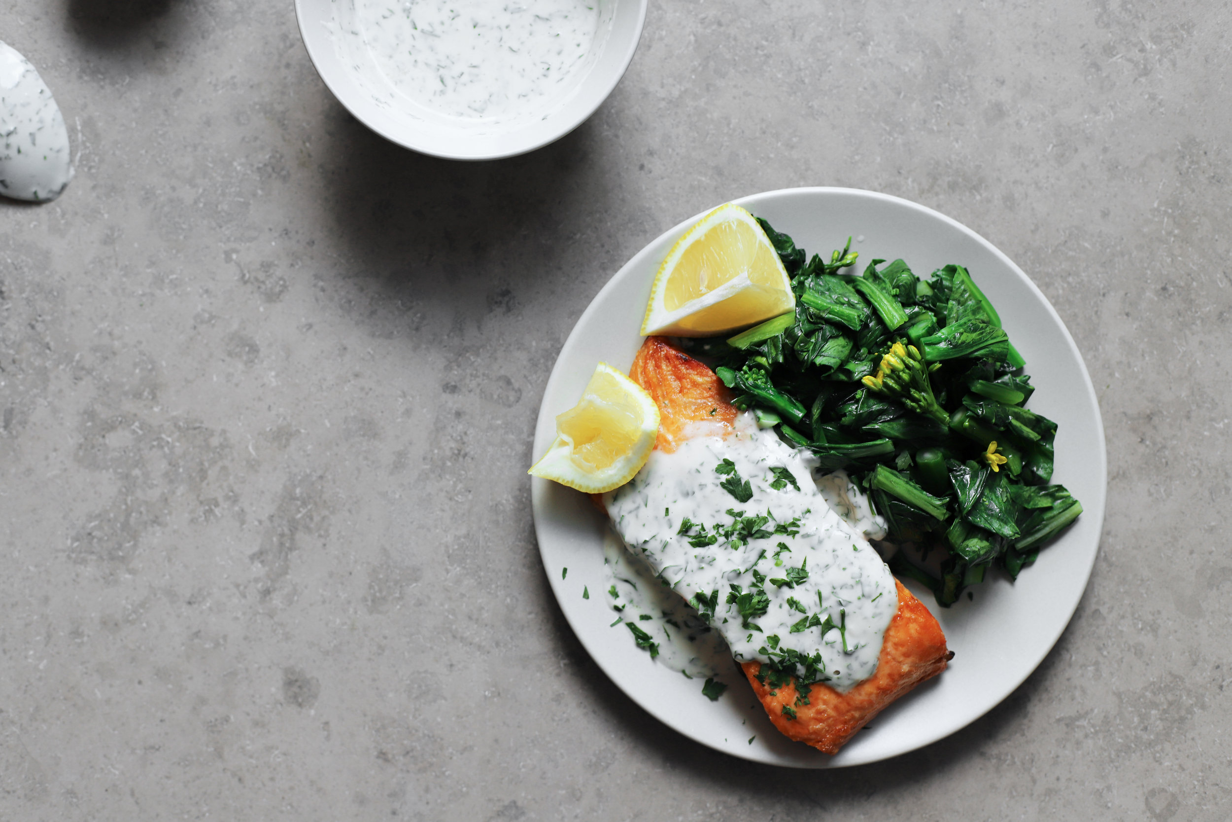 salmon with tahini lemon sauce