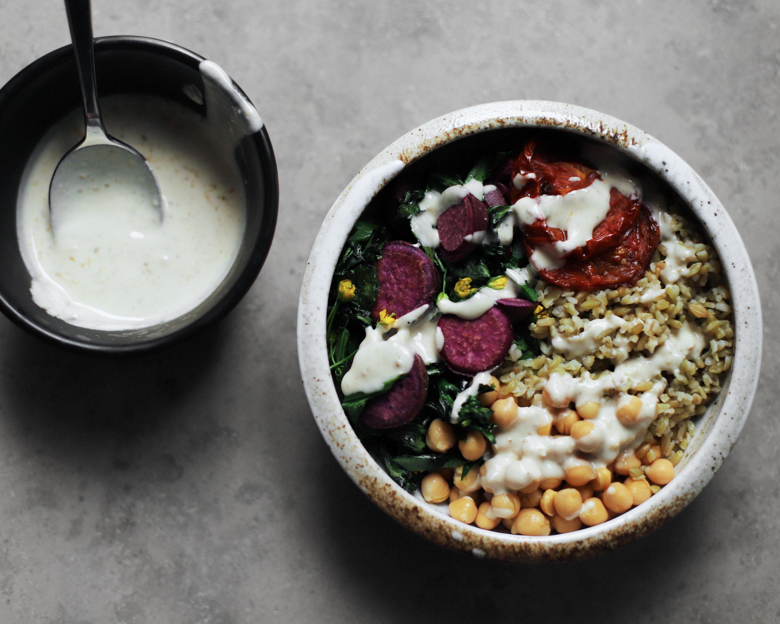 extra-savory tahini sauce with freekeh bowl