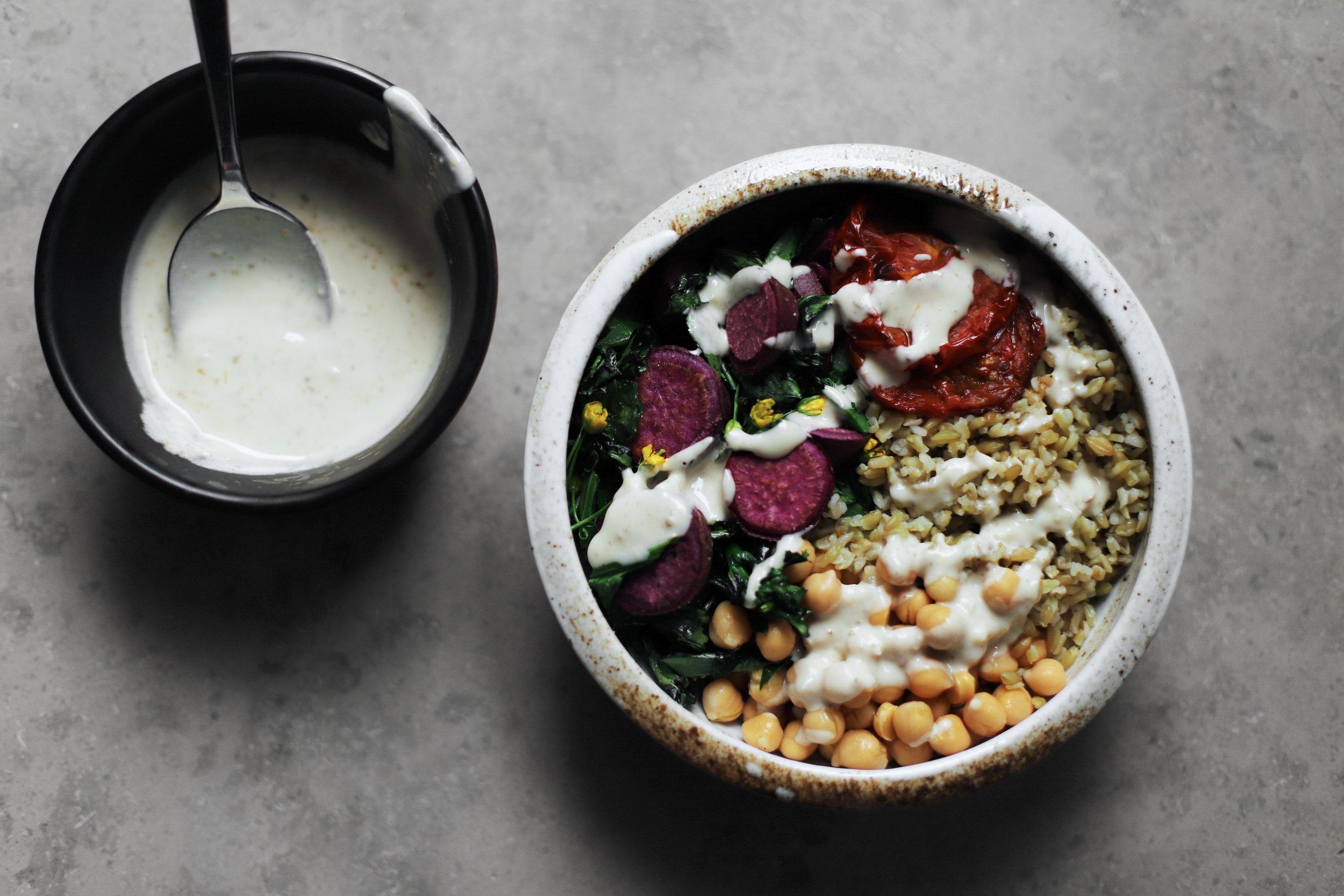 freekeh bowl with savory tahini