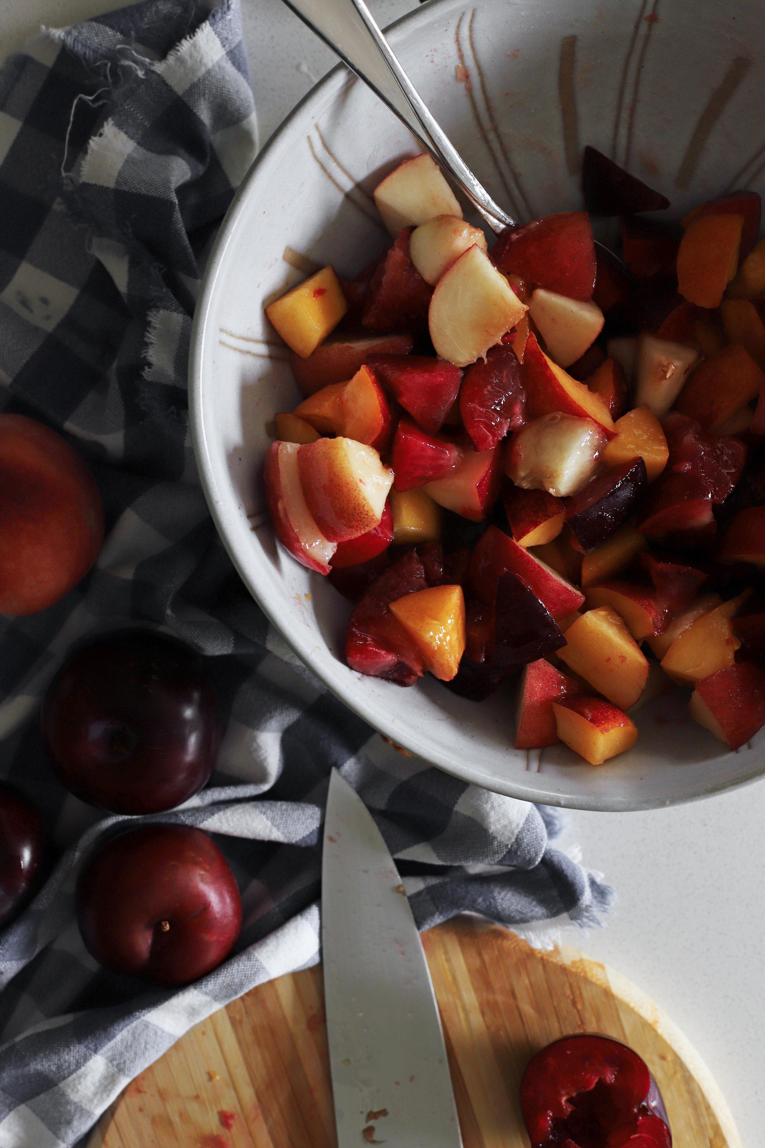 stone fruit banana trifle with orange blossom custard