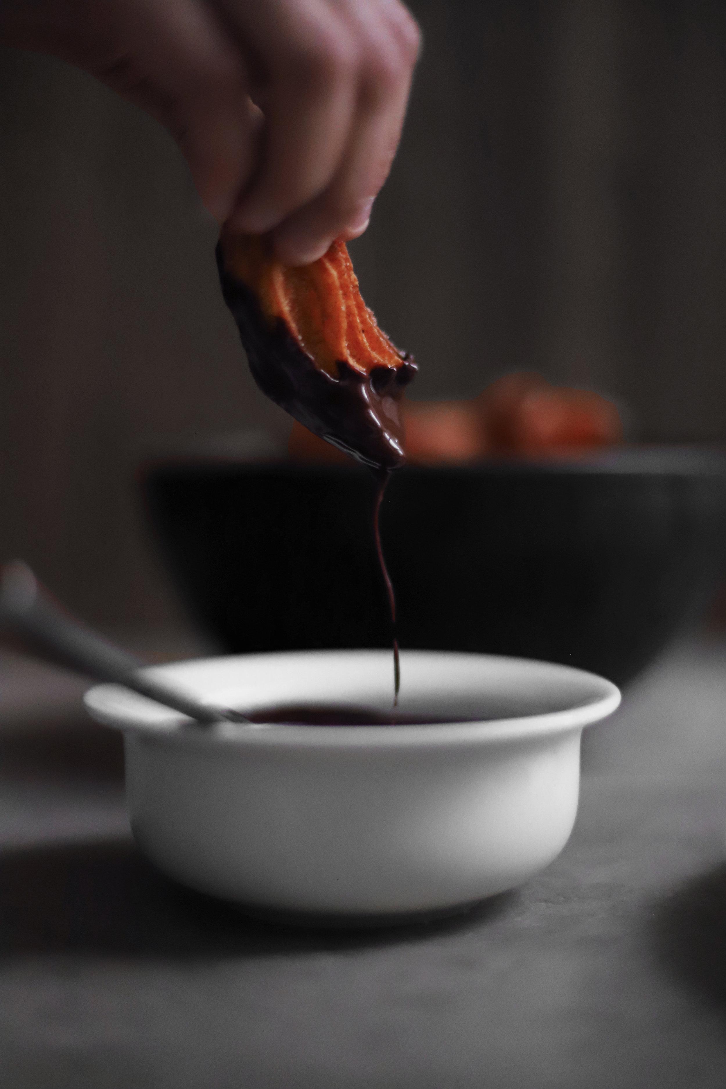 cardamom churros with orange blossom chocolate sauce