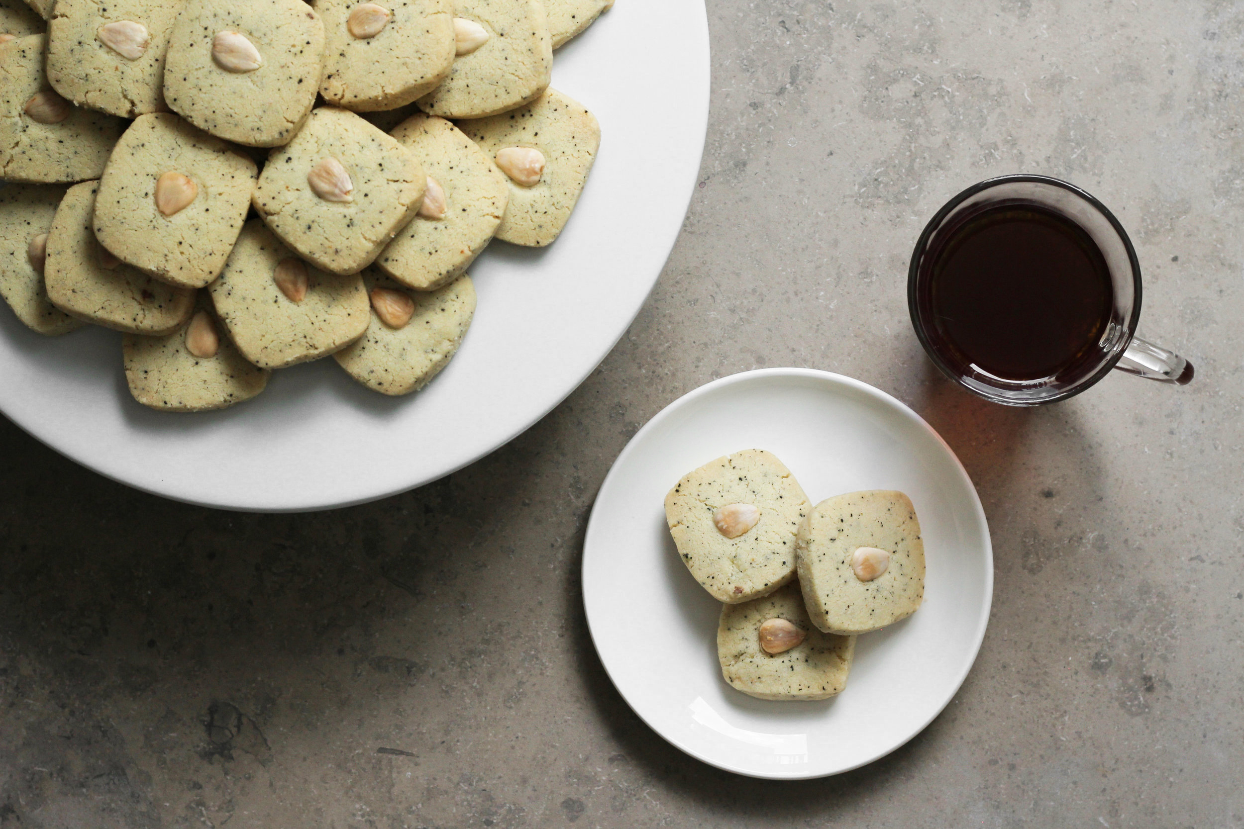 cardamom and tea ghraybeh (shortbread)