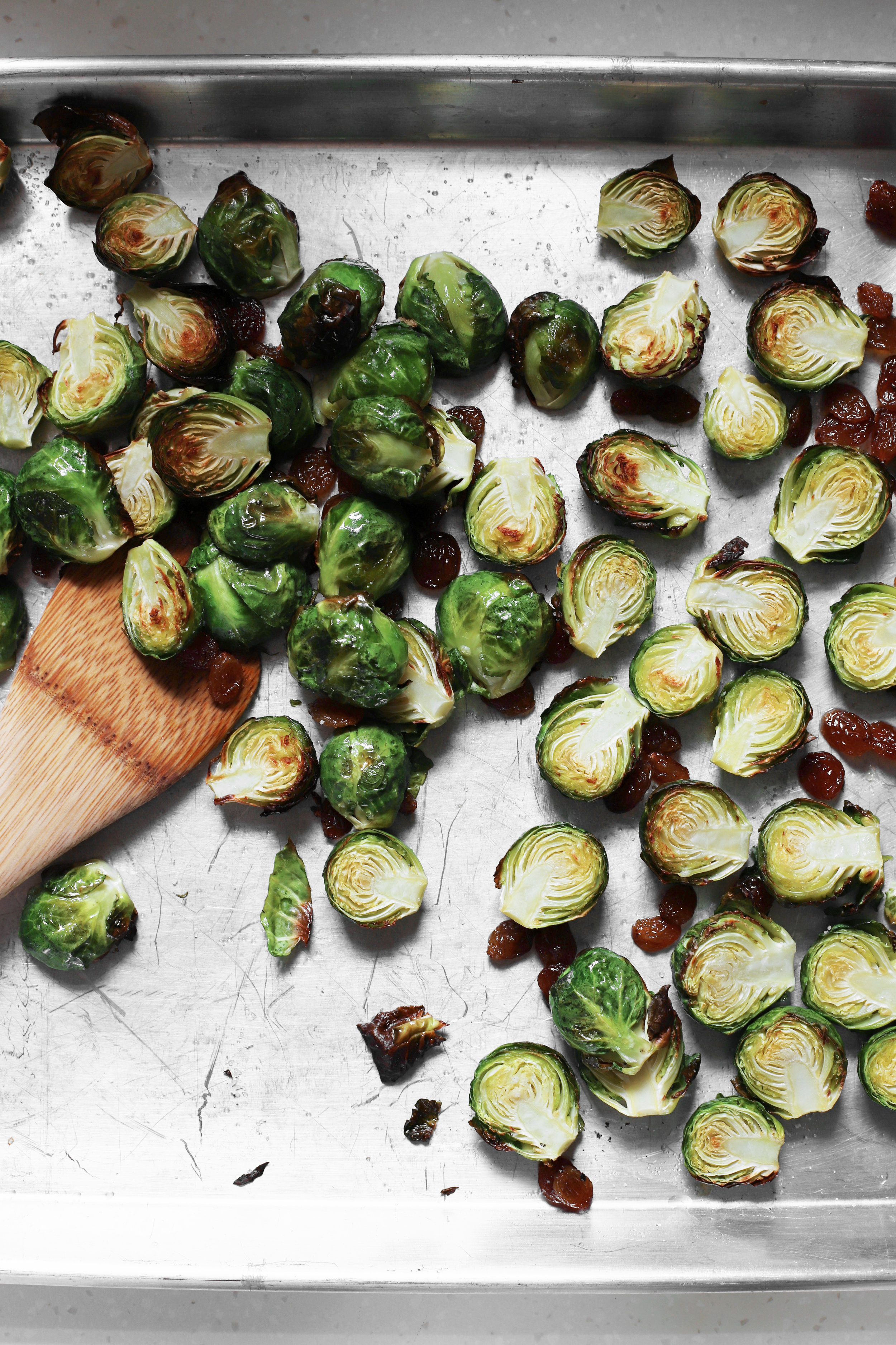 brussels sprouts with pickled apples and roasted raisins
