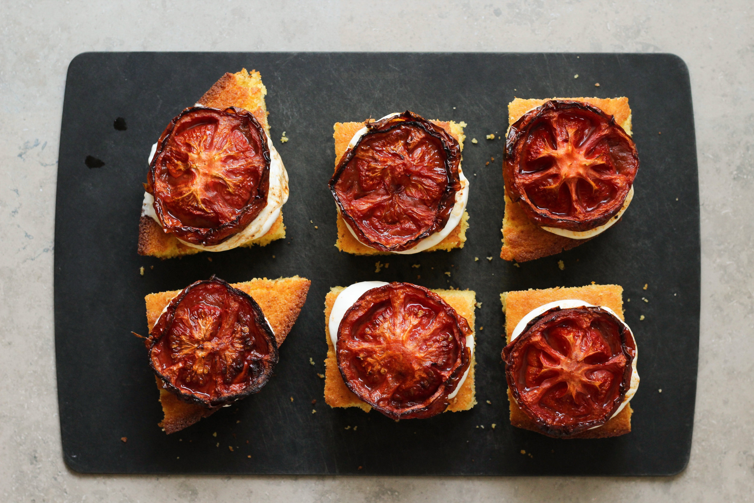 cornbread with labneh and slow roast tomatoes