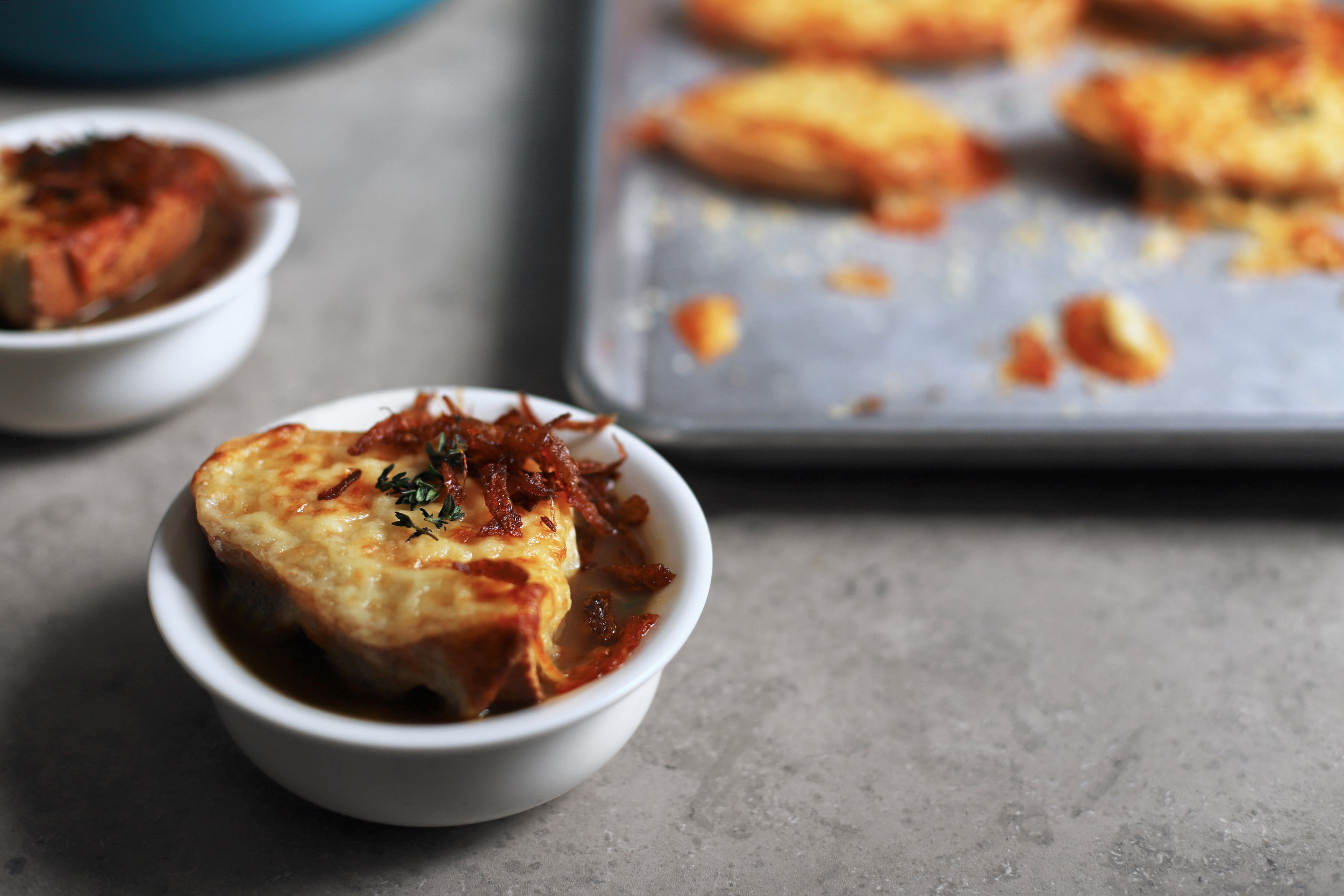 mujadara-inspired french onion soup